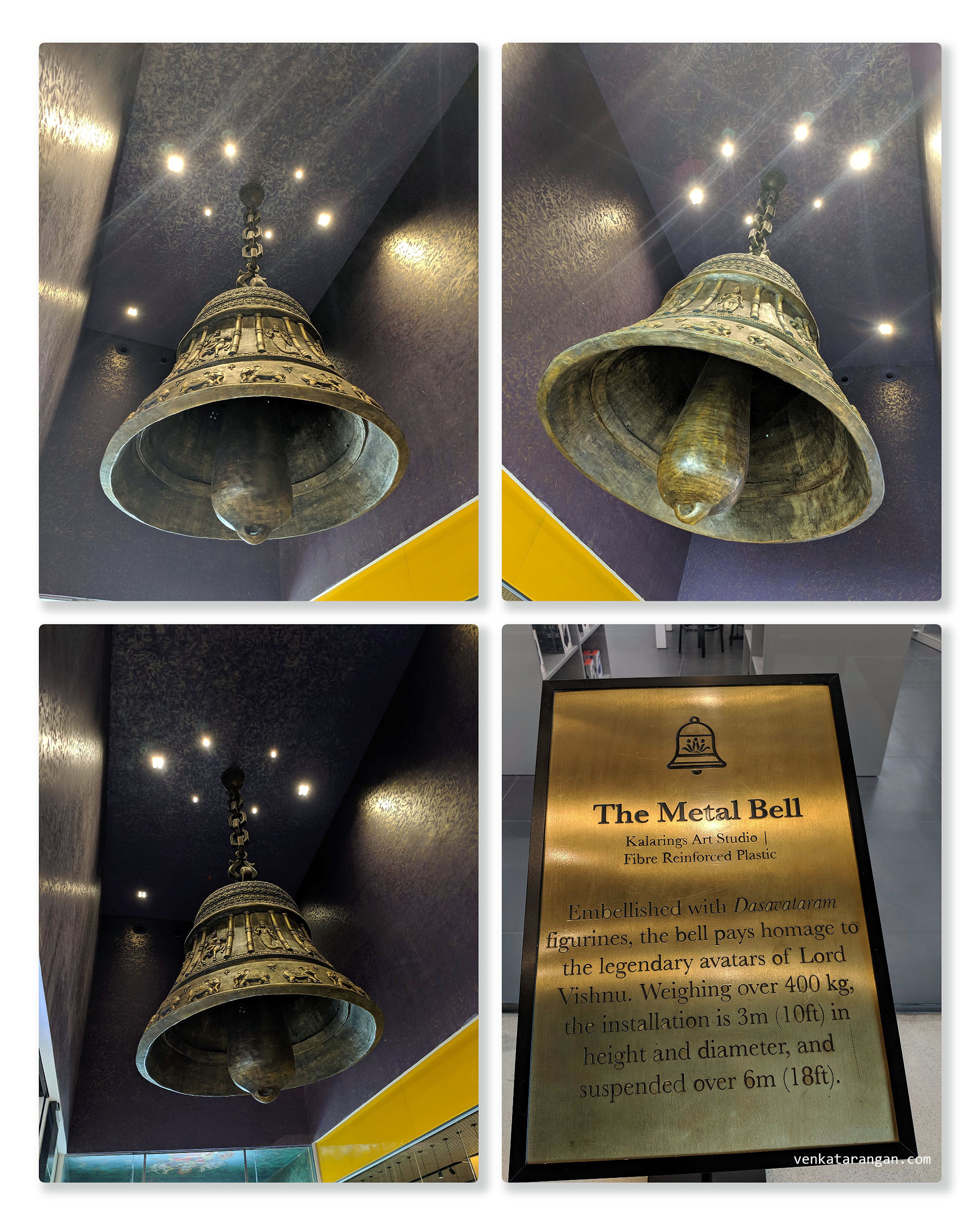 Next stop was The Metal Bell weighing over 400 kg and over 10 feet in height and diameter, is embellished with the hall of dasavatharam figurines