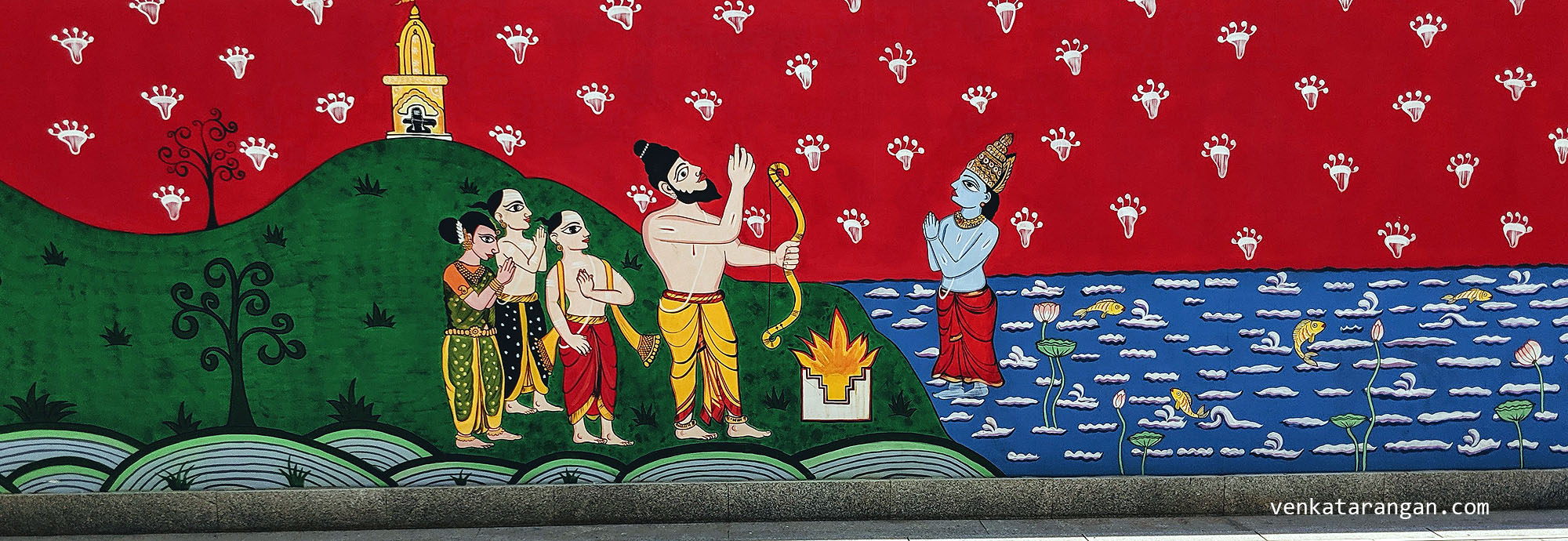 Dasavaratharam - 6. The Parashuram (Lord Ram with an Axe) is shown by a mural depicting the moment when Lord Varuna, the God of Rains, blesses Parashuram while he sits in meditation.