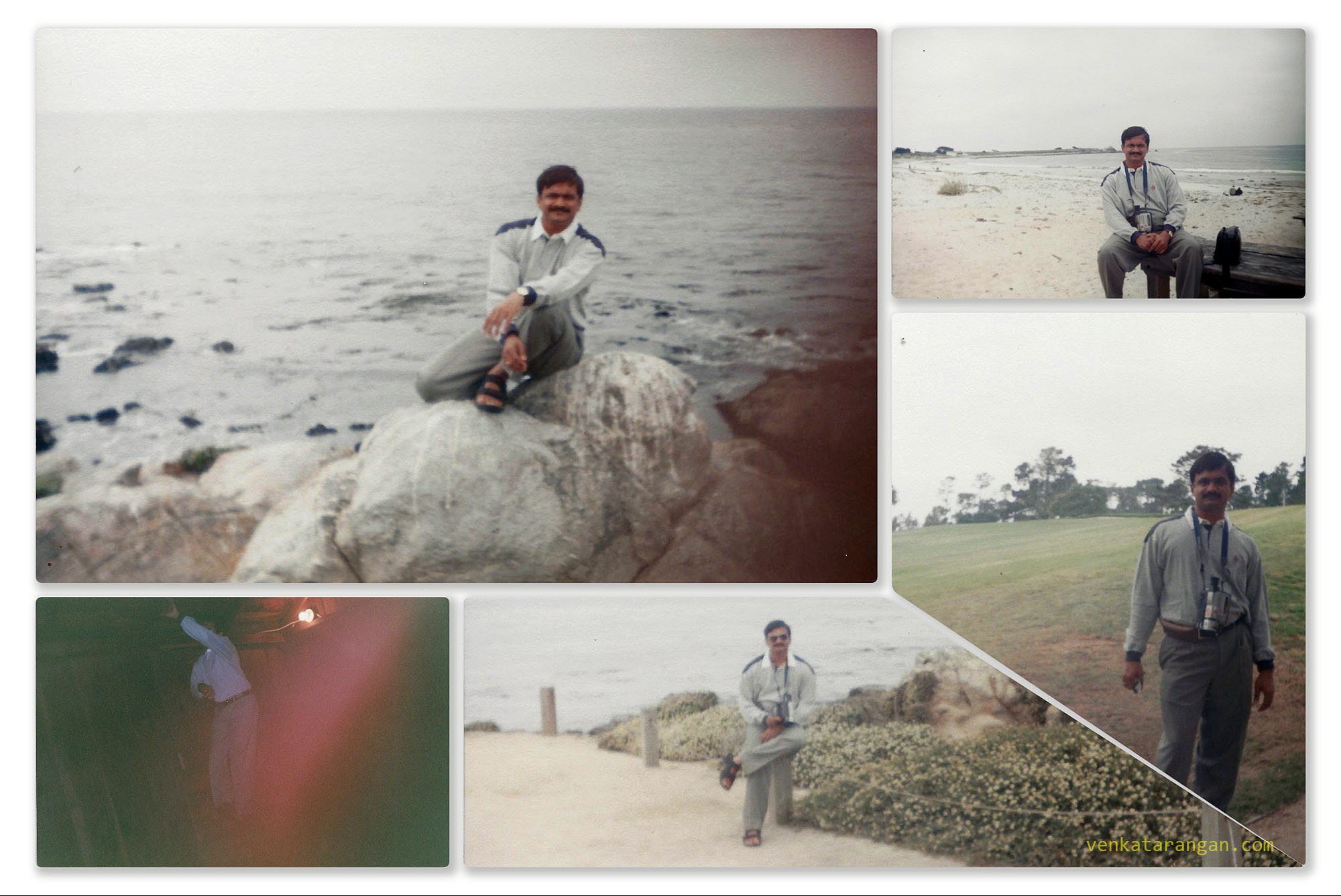 In 1999 - The 17-mile drive near Pebble Beach. (Bottom Left) An overly exposed picture of me in the Mystery Spot, Santa Cruz, CA.