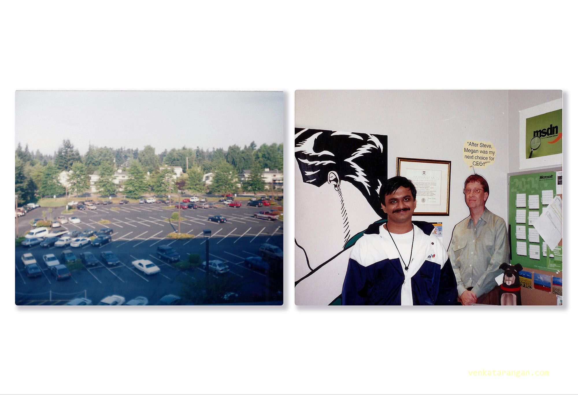 (Left) View from one of the offices in Microsoft Campus, Redmond, Washington - 1999. (Right) Inside view of a manager's office.