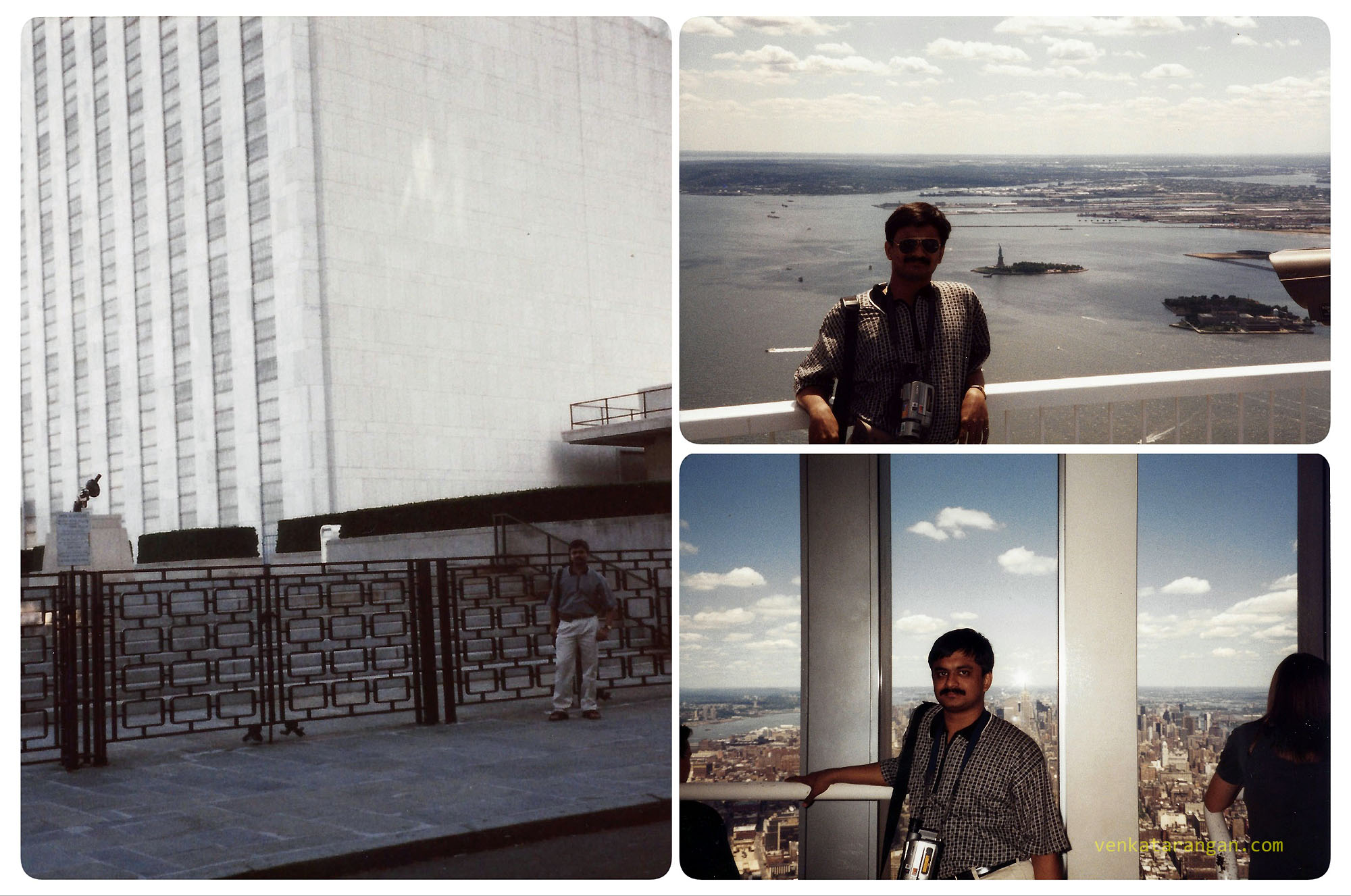 (From Left bottom) United Nations Headquarters, view from Empire State building and World Trade Center in 1999