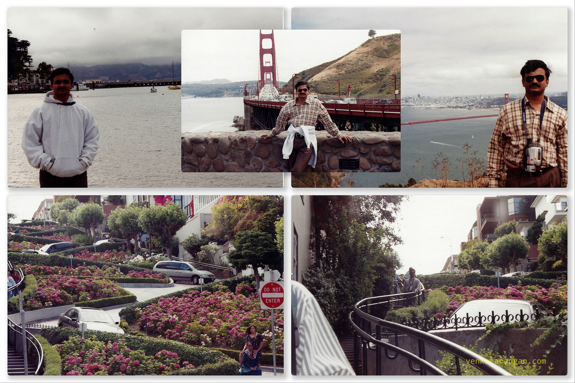 (Top row) Golden Gate Bridge. (Bottom) Lombard Street (Crooked street), San Francisco. 1999.