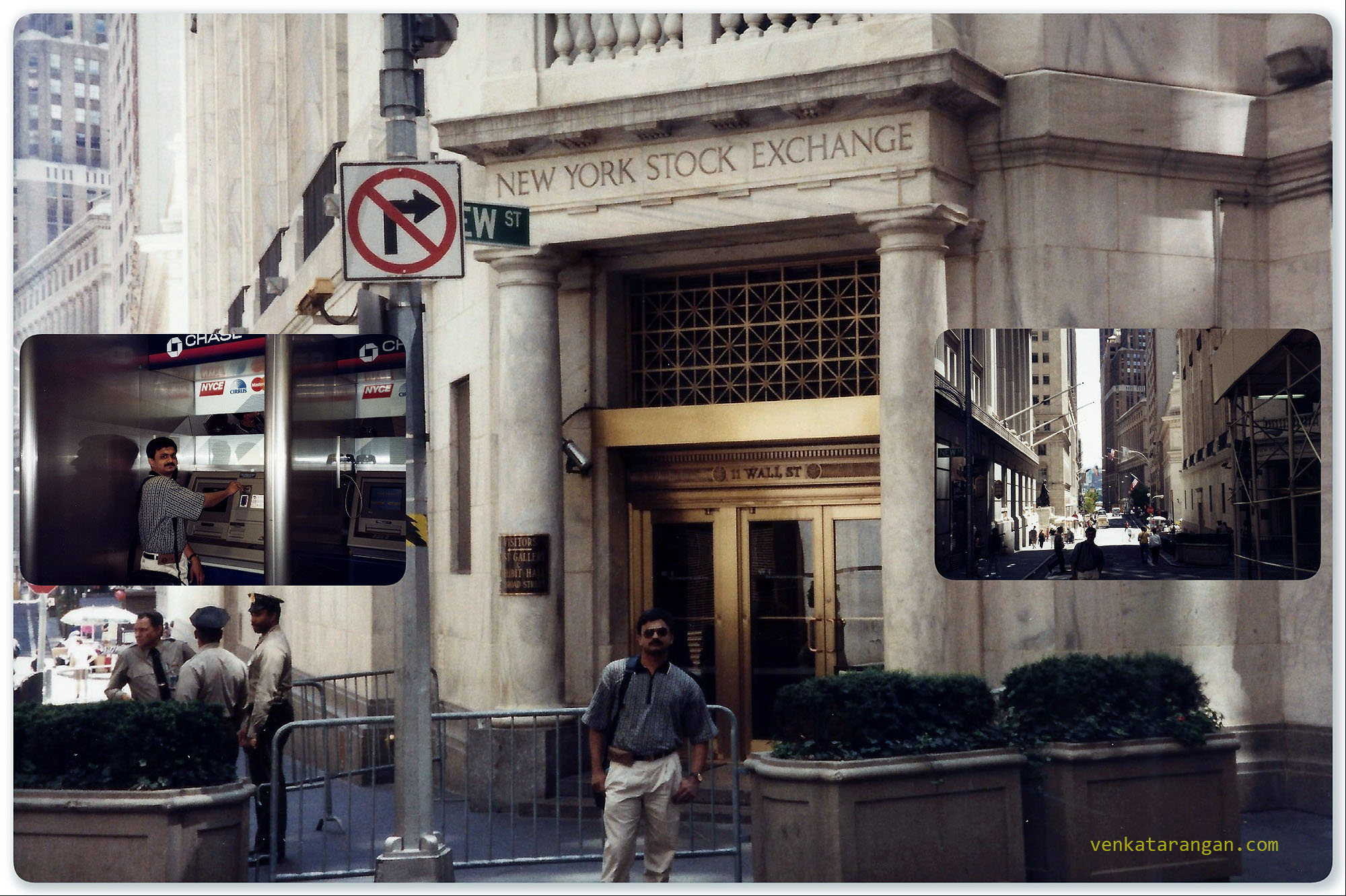 The view of New York Stock Exchange in 1999. The first and only transaction I did in the Wall Street - of withdrawing money in an ATM
