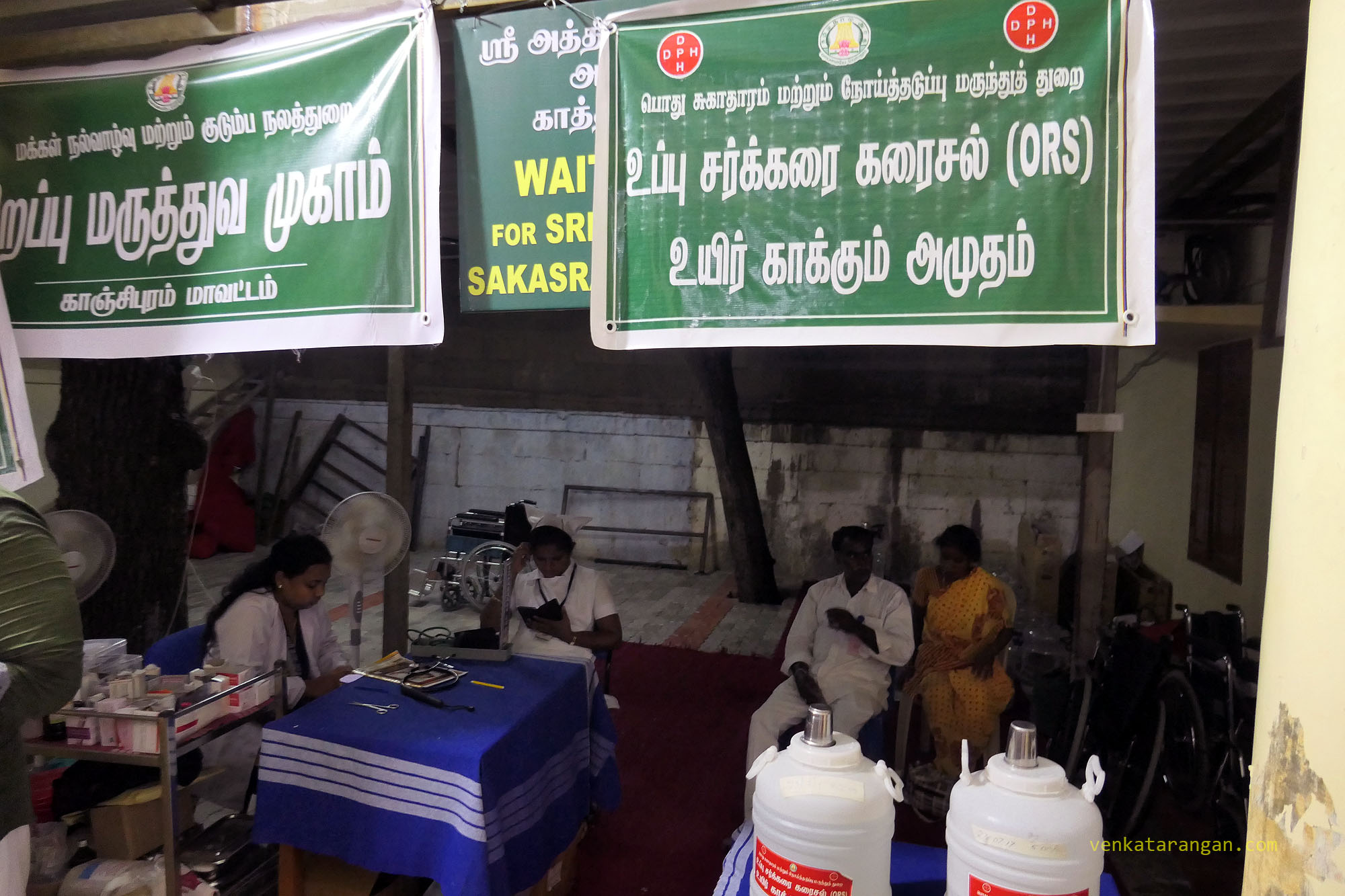Emergency first aid camp inside the temple campus