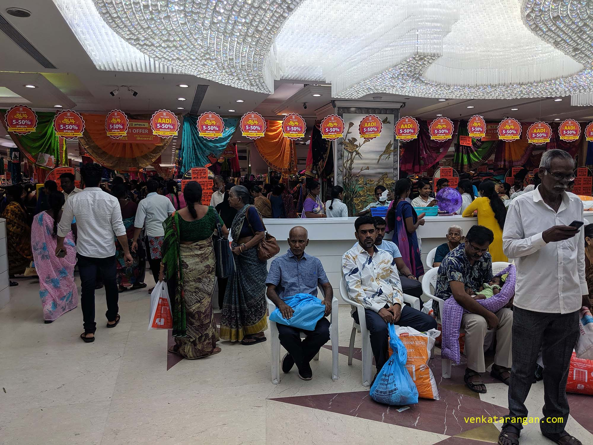 View of shoppers inside Saravana Stores - The Legend