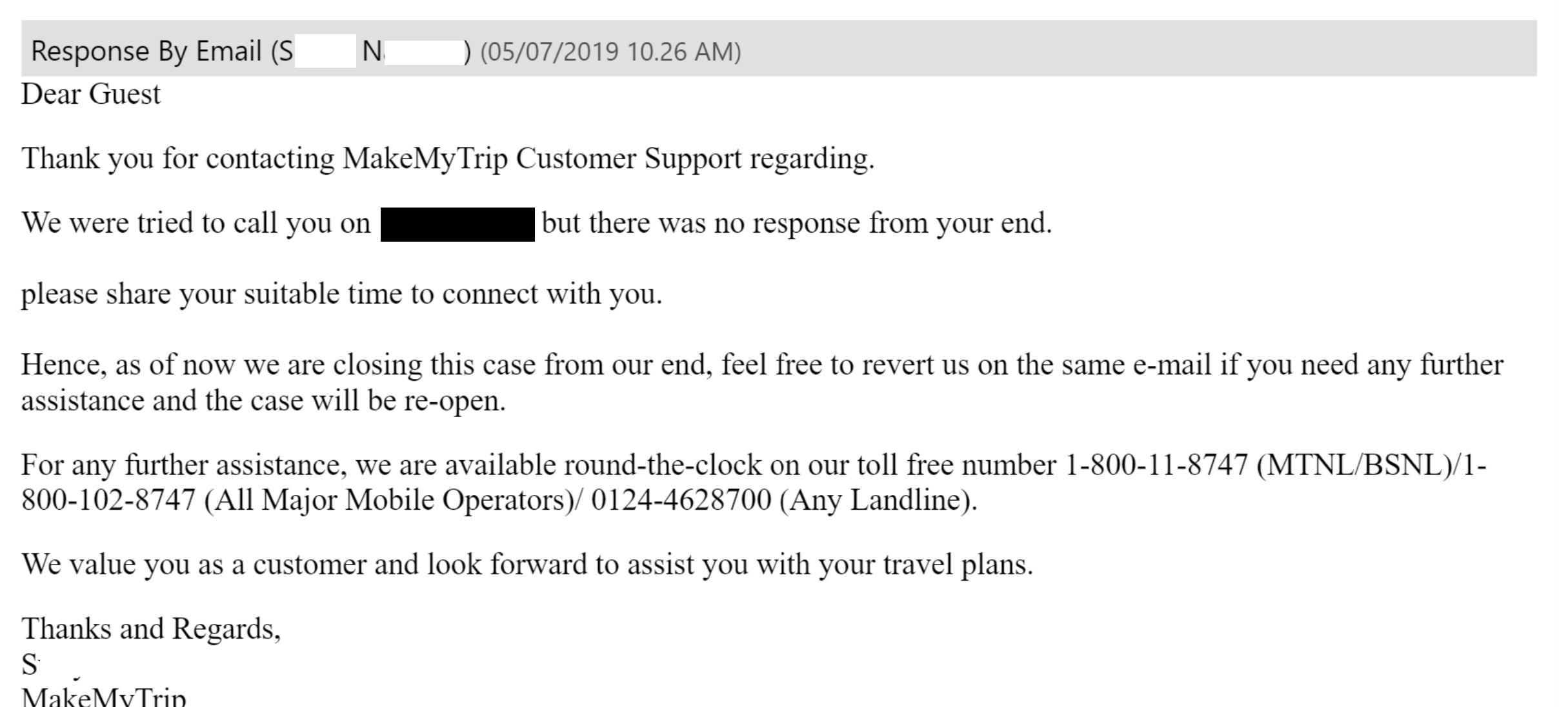 Customer Care email from MakemyTrip - A service I love otherwise!