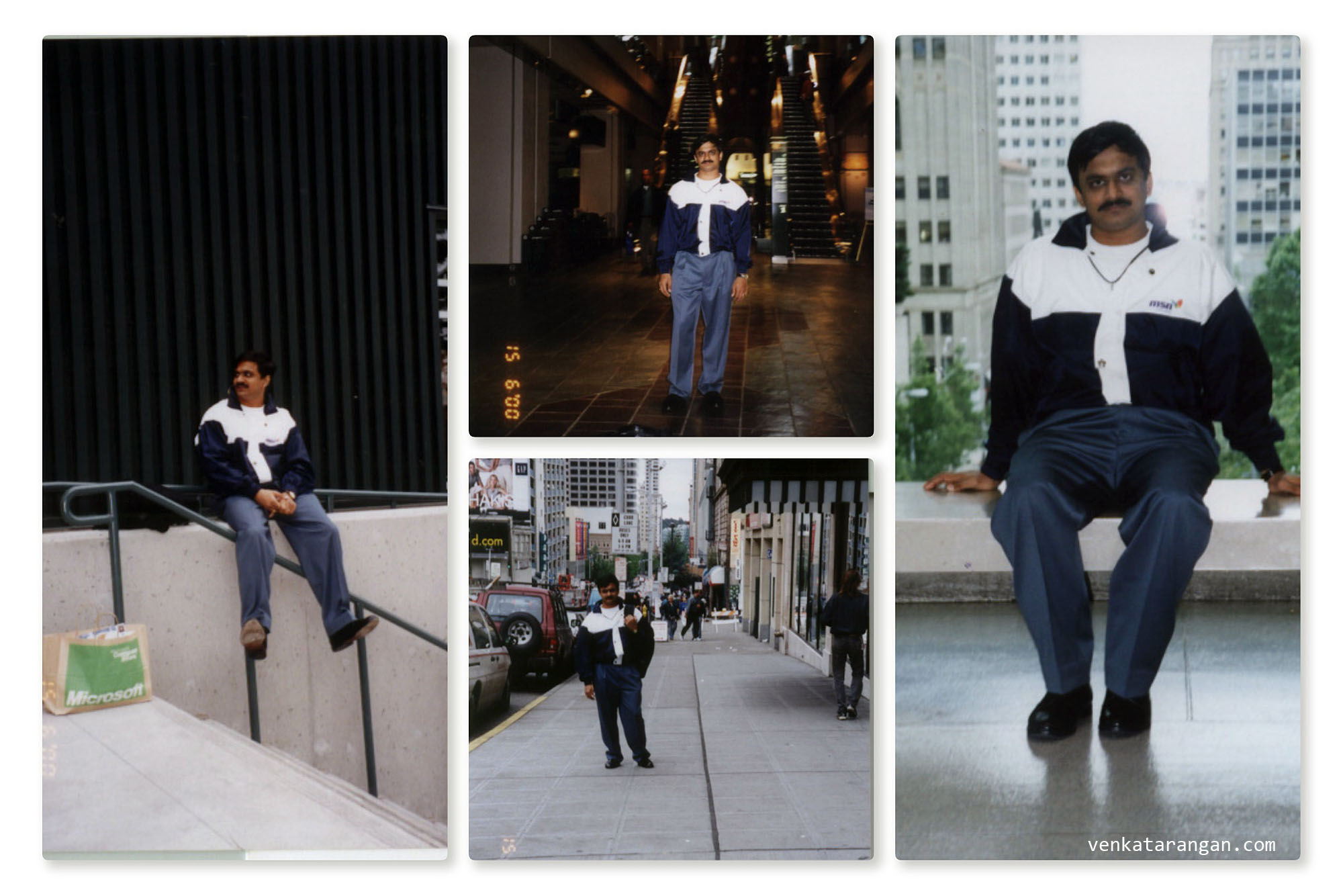 (from left) Venkatarangan sitting in front of Microsoft's Company Store in Redmond (WA), the other 3 pictures are taken in downtown Seattle in 2000