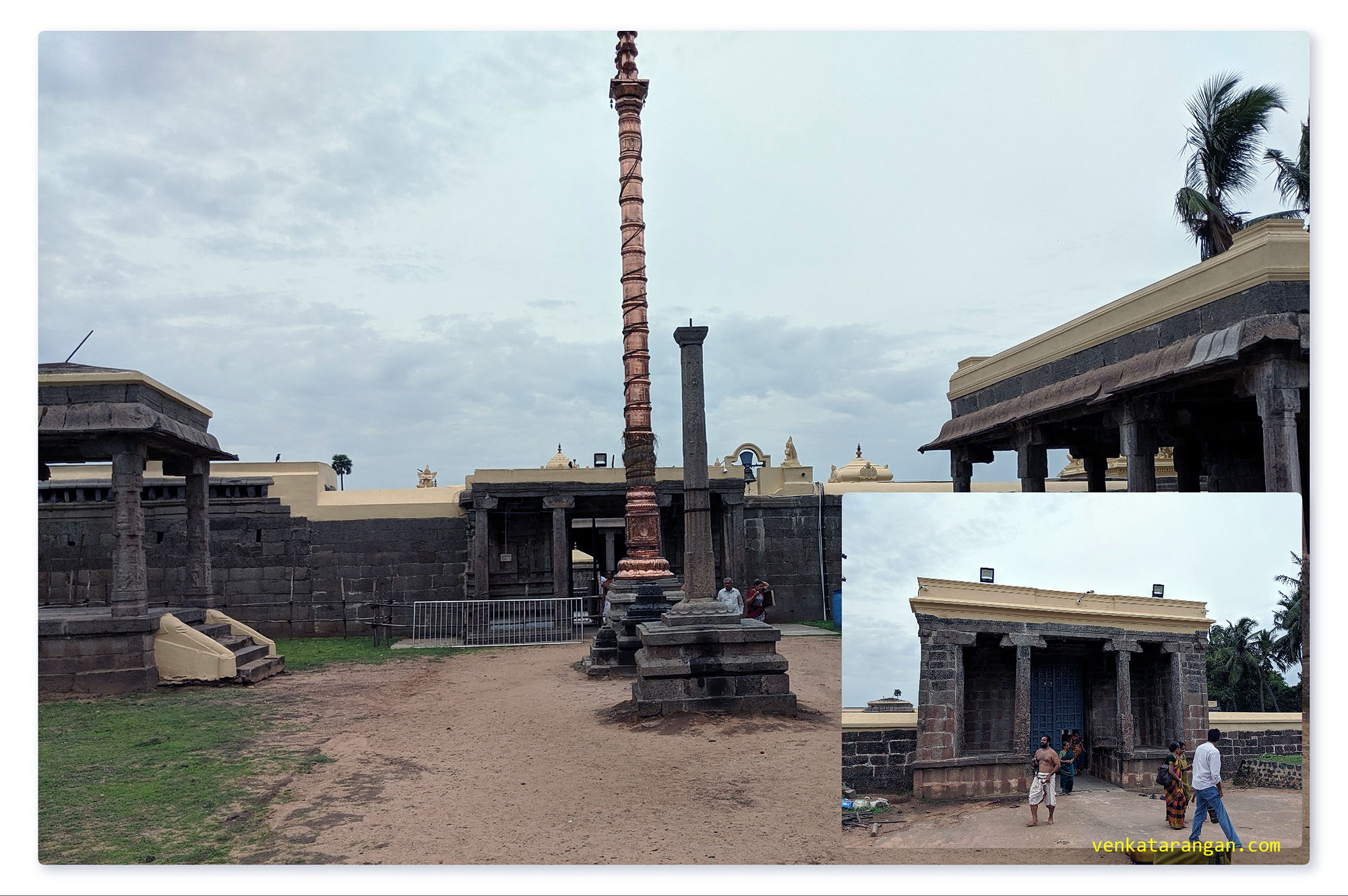 View of the dwajasthambam (Dhvaja sthambham or கொடி மரம் or கொடி கம்பம், which is a flagstaff and a common feature of South Indian Hindu temples)