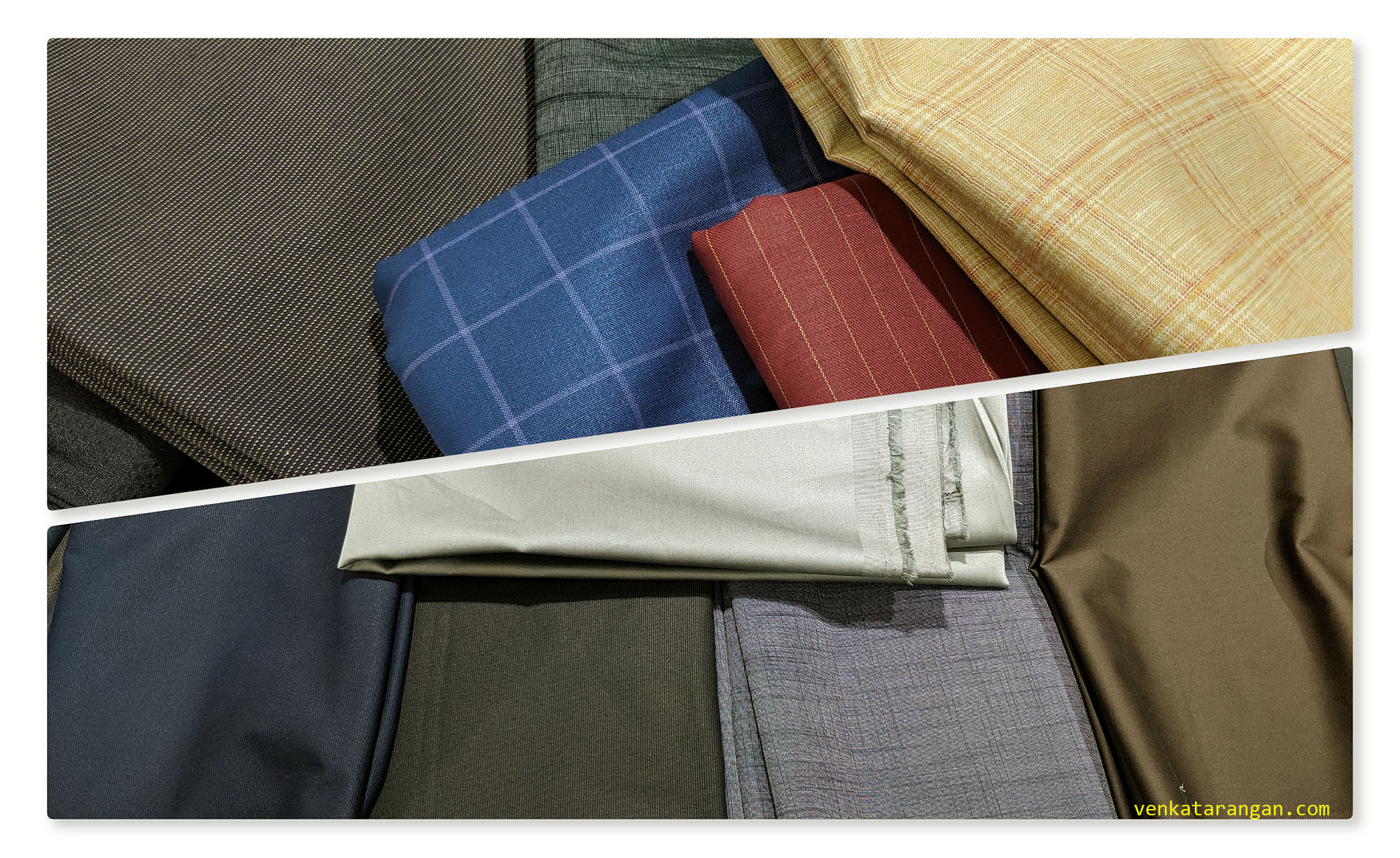 A few of the cloth materials I bought for bespoke shirts and trousers for me and my son