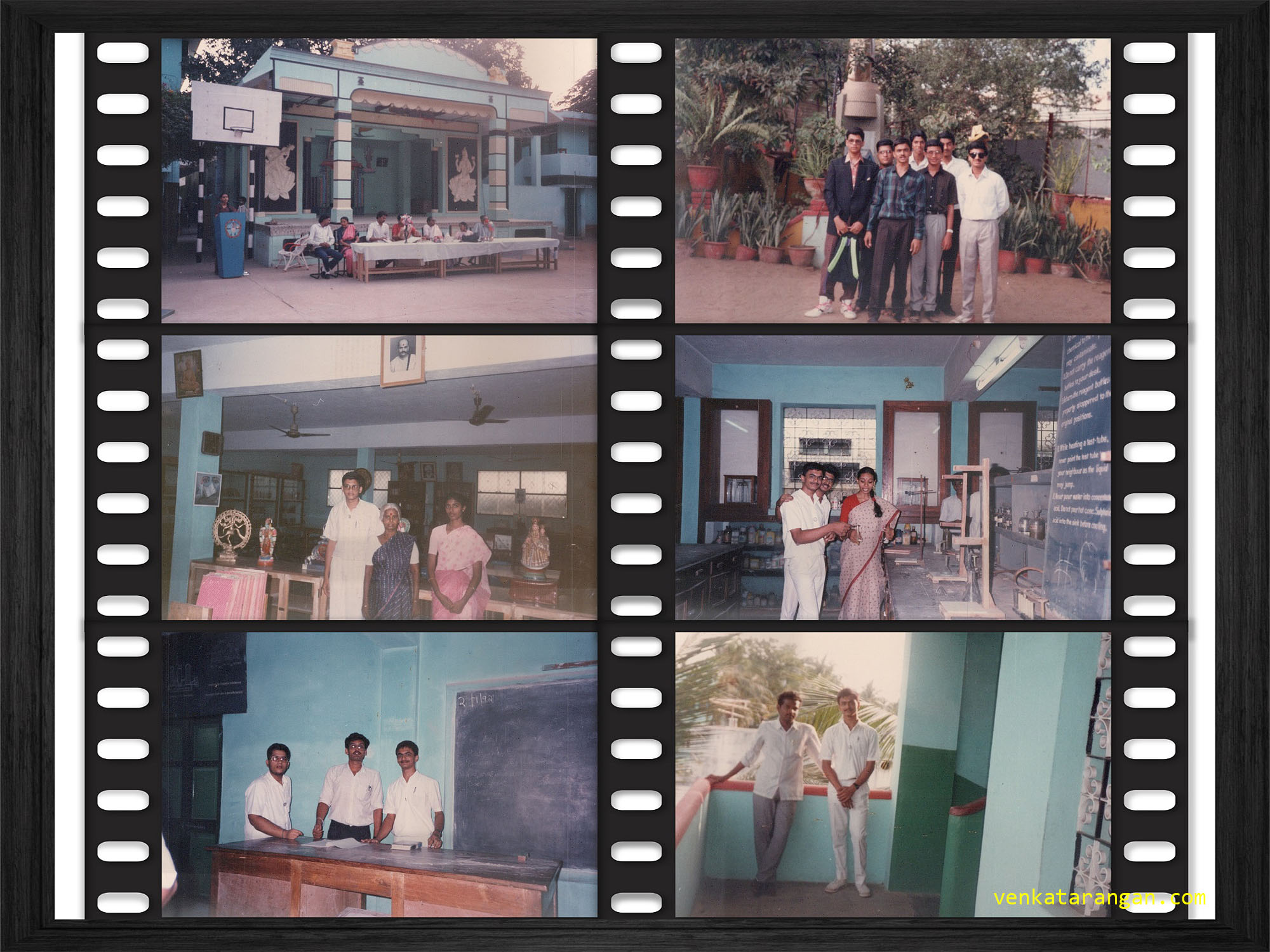 A few random pictures of my school days, taken on the early months of 1992. (Clockwise from top left) School Open Auditorium, Founder Sri Panicker's memorial, Chemistry Lab, Near Biology Lab, XI A Classroom and the School Library.