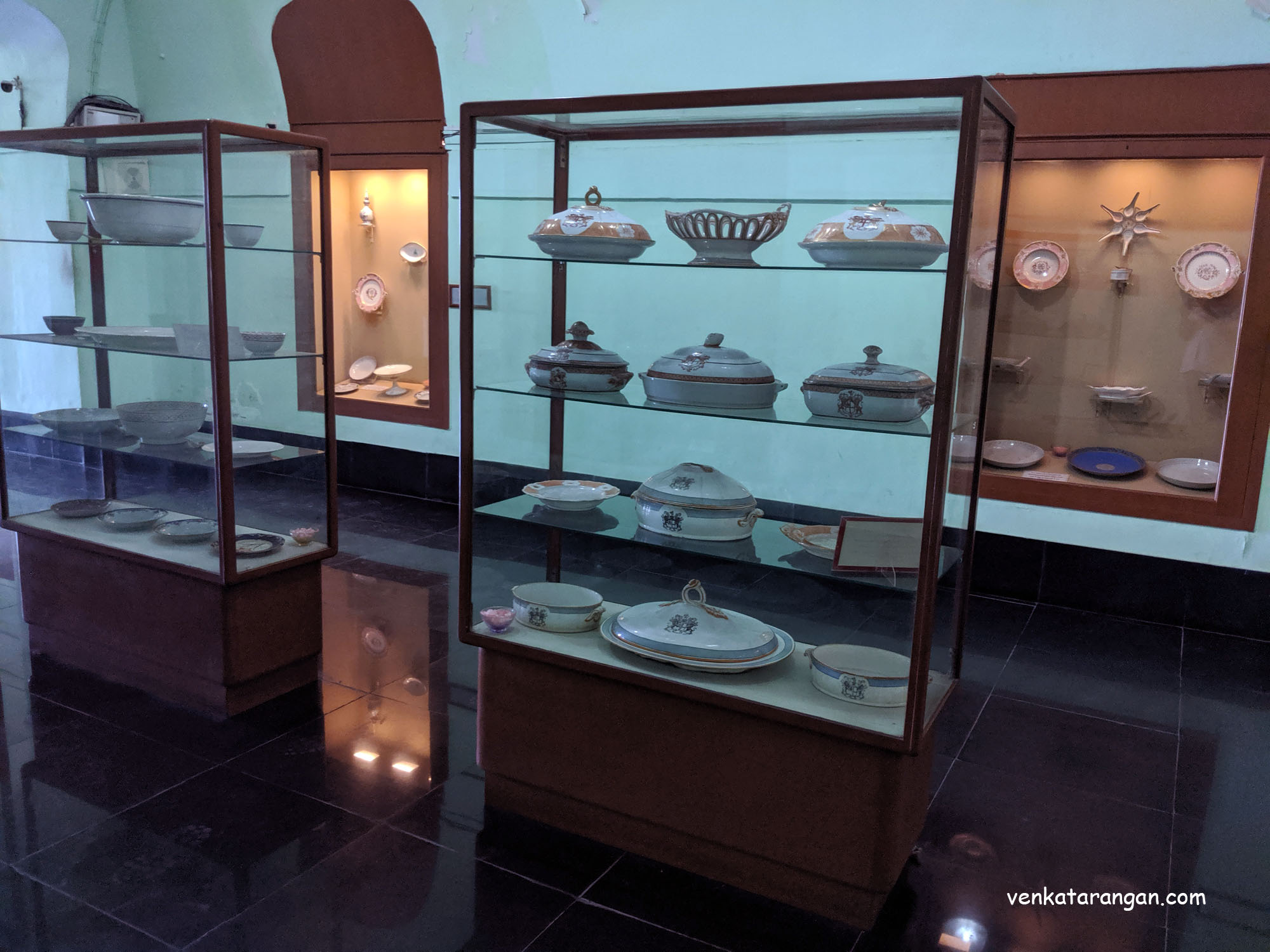 Porcelains from various royal households who lived in the Madras state