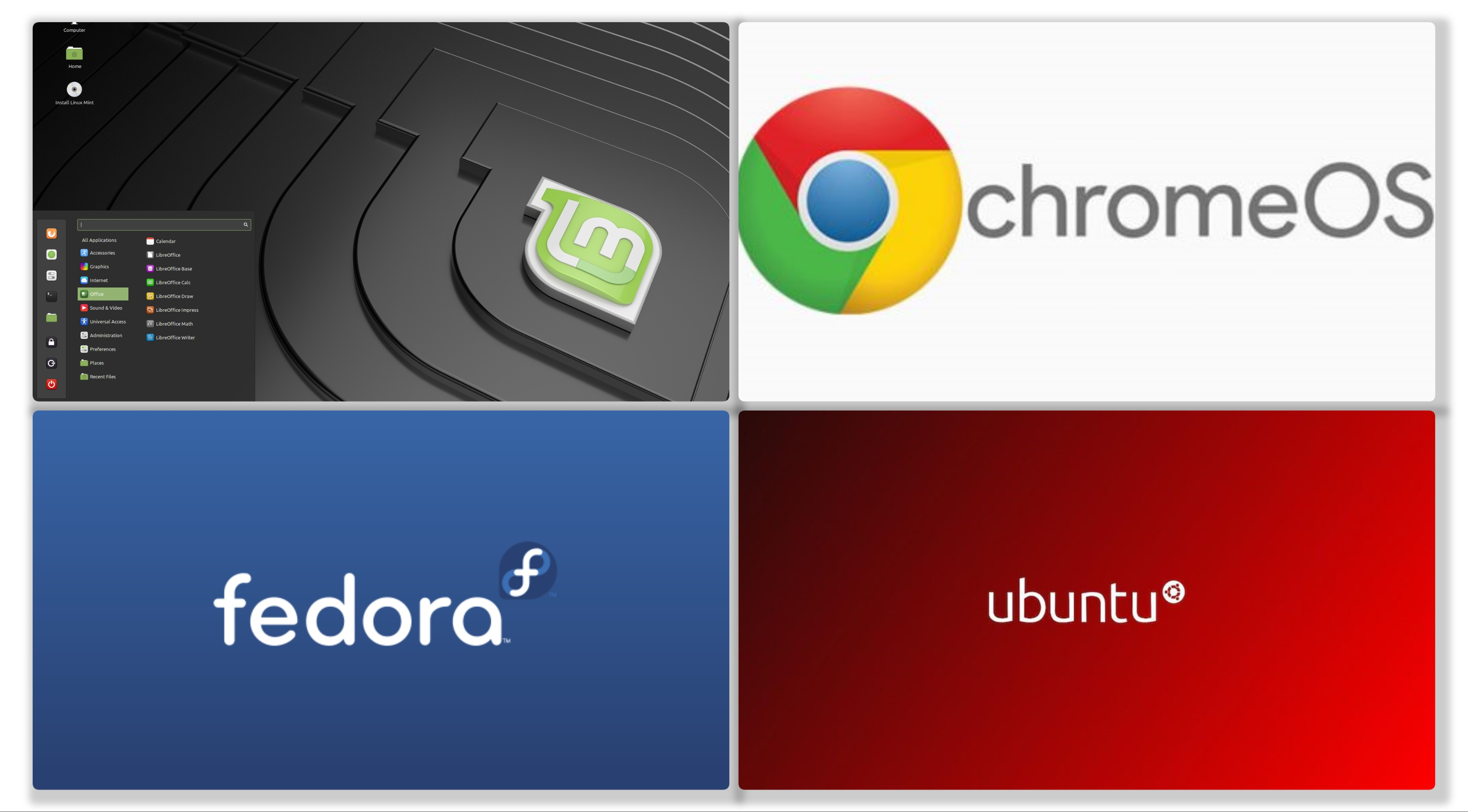 Linux on Desktop - Chrome OS, Fedora, Ubuntu and Linux Mint