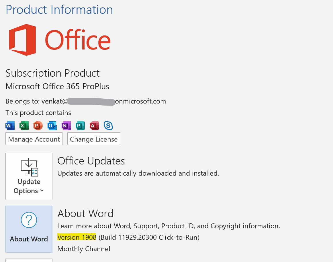 Microsoft Word 1908 - Microsoft Office 365
