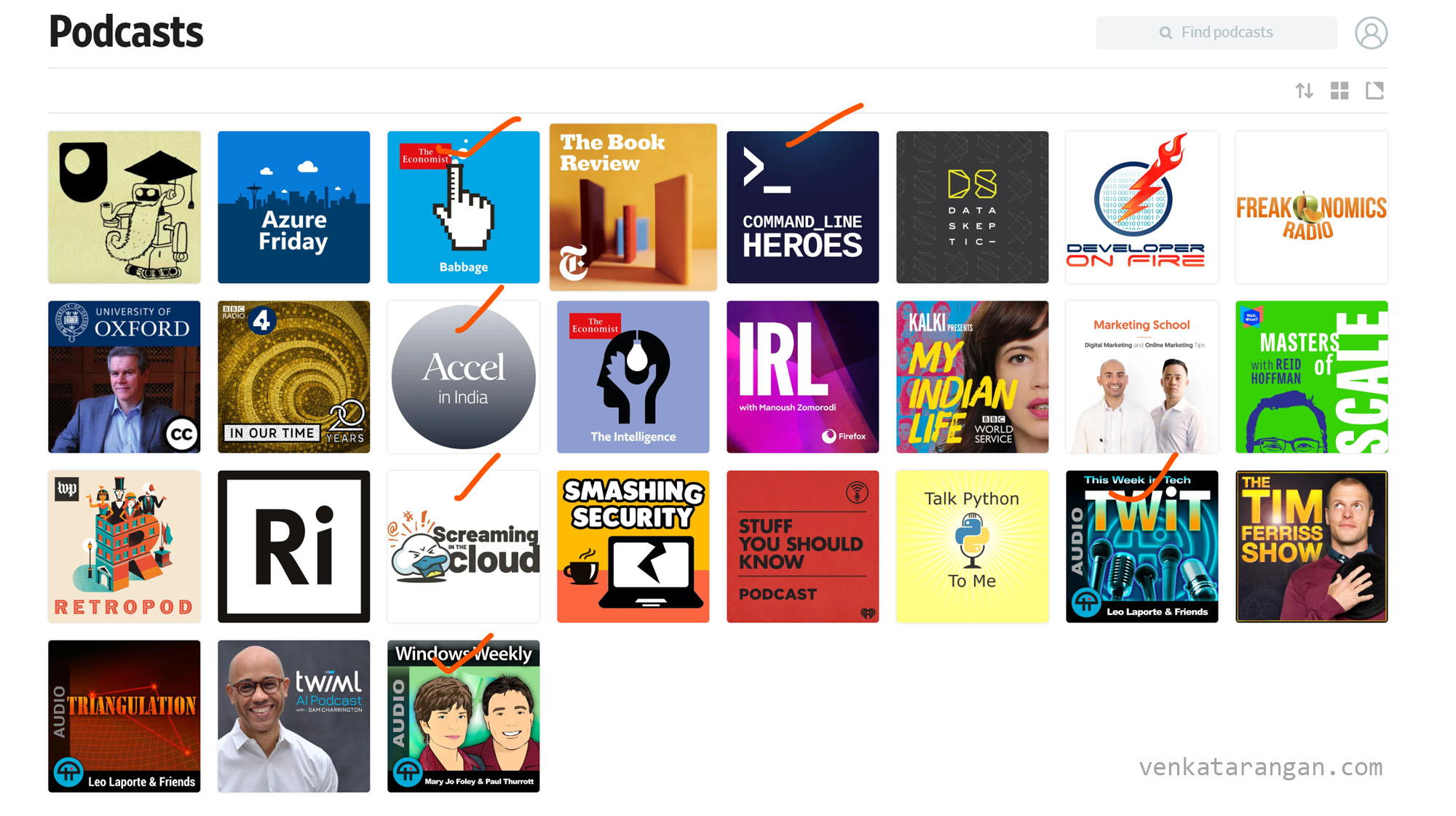Podcast subscriptions that I currently have