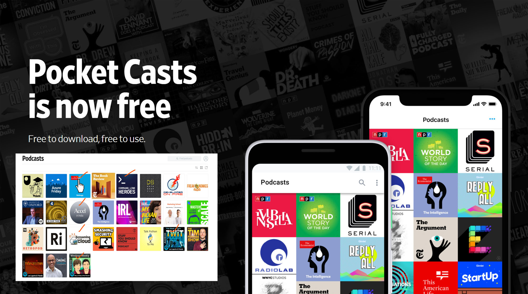 The podcasts I listen to, and the best app for playing them is now free!