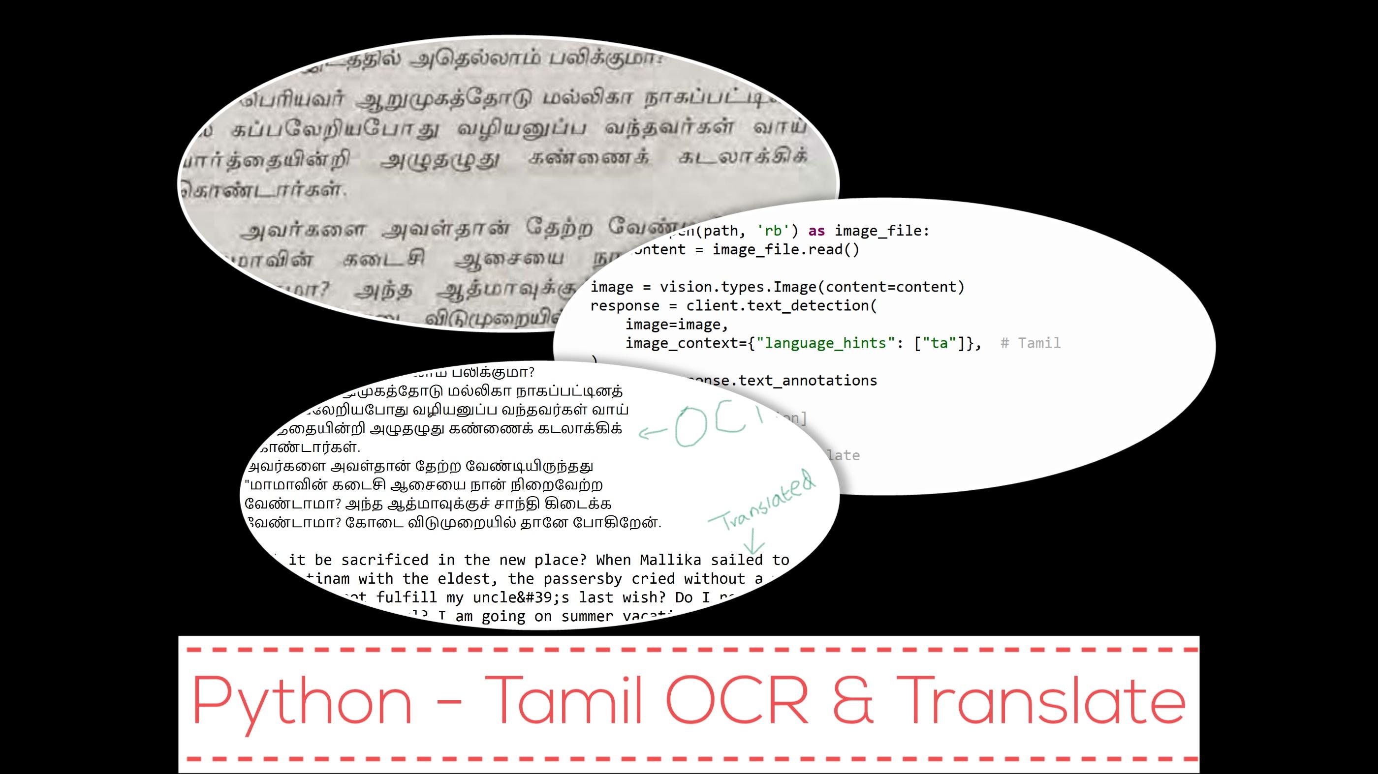 Python - Tamil OCR and Translate