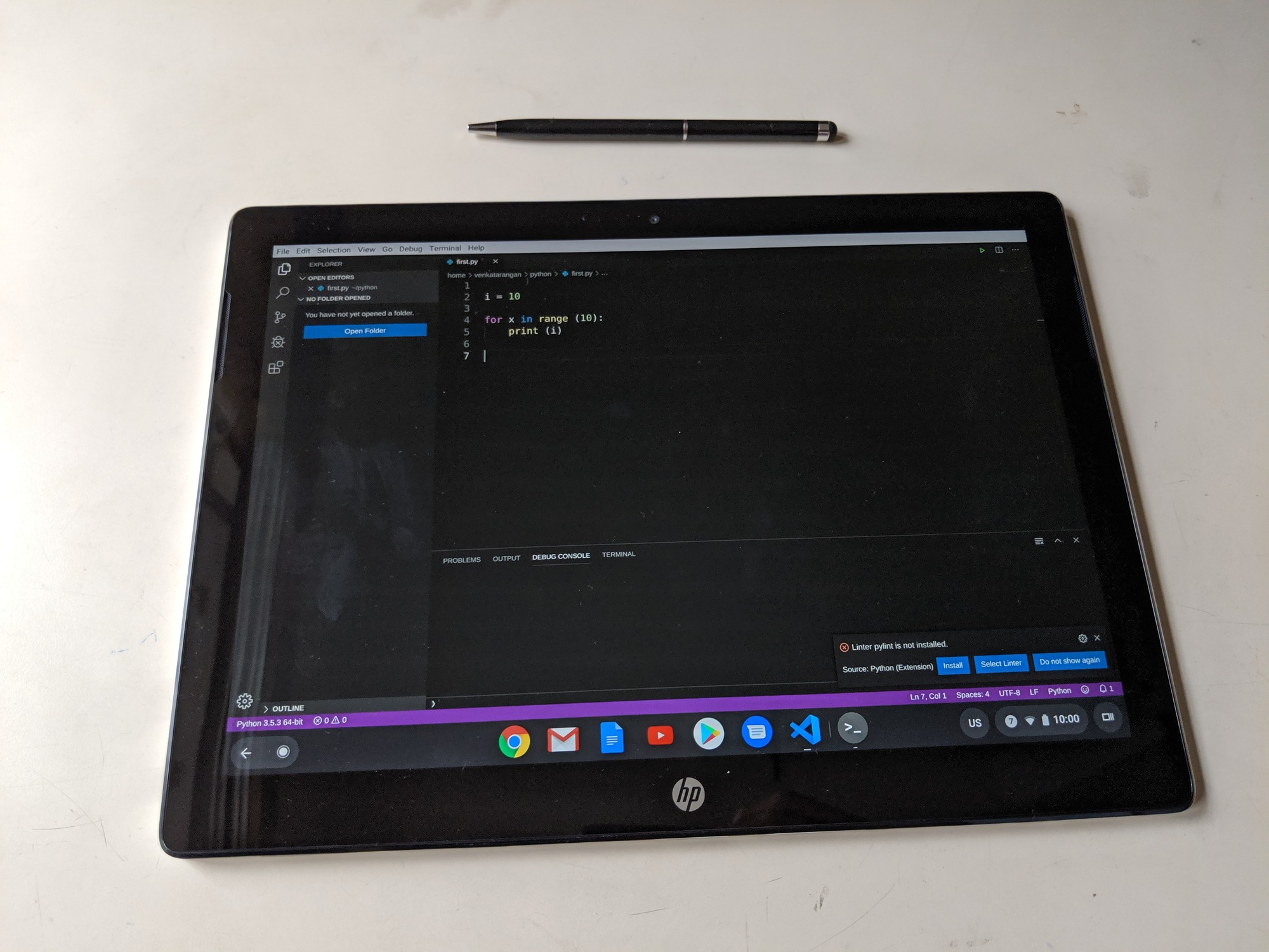 Visual Studio Code running a Python code on HP Chromebook x2