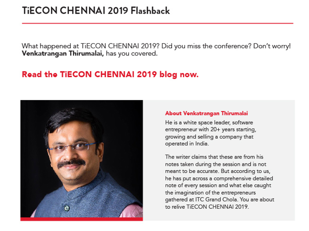 From TiE Chennai Newsletter that went out on the 17 December 2019