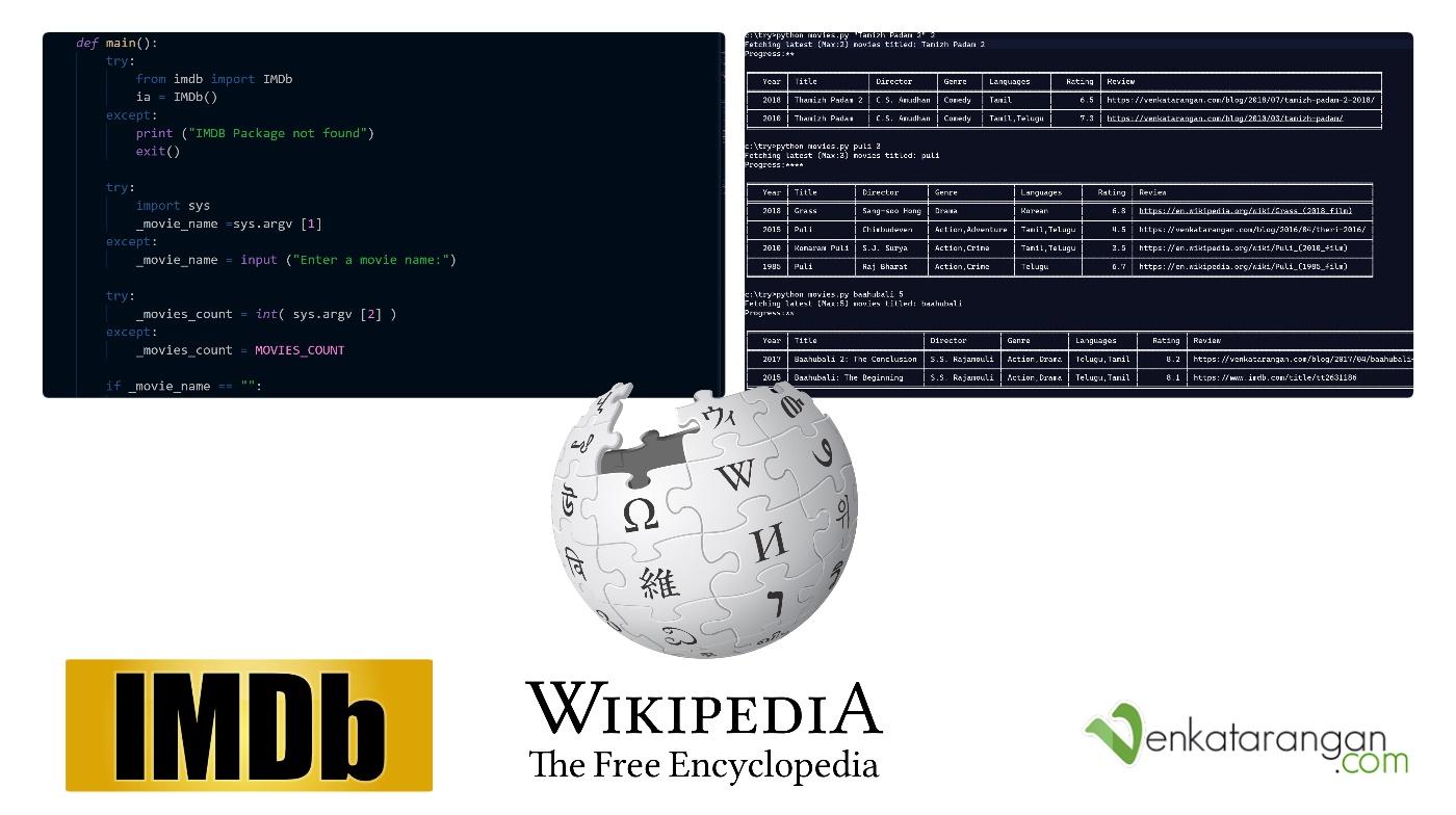 Python code for listing movies from IMDB, Wikipedia and Wordpress blog