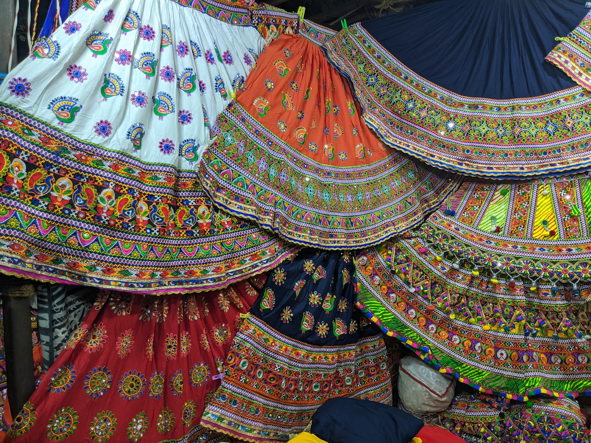 Colourful Lehnga or langa, a form of full ankle-length skirt