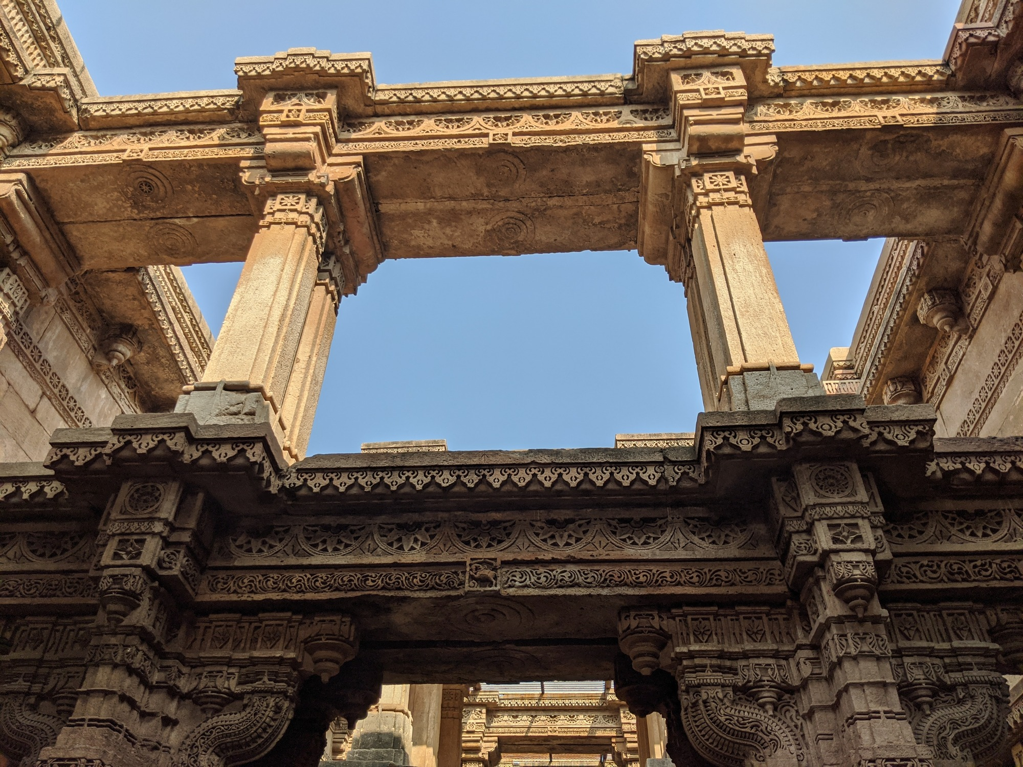 The Adalaj stepwell is five stories deep
