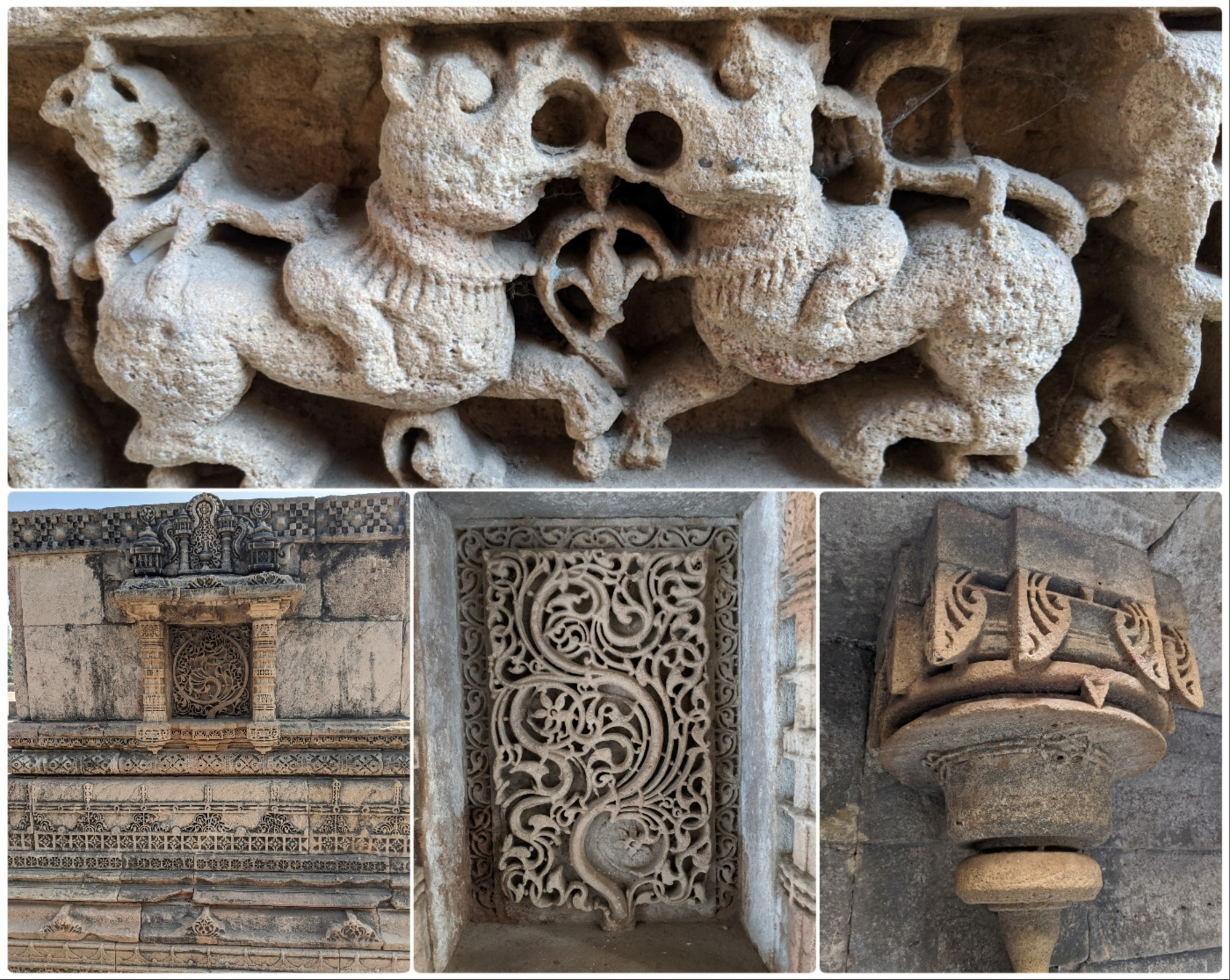 Intricately carved motifs can be seen everywhere along with animals and gods