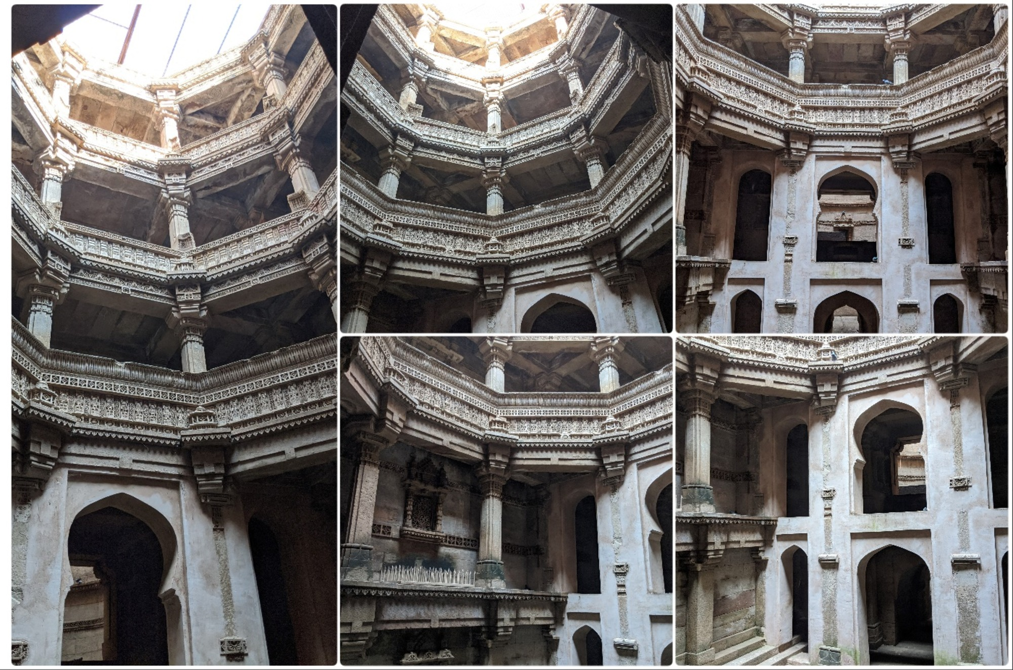 Above the square floor, columns, beams, wall and arched openings spiral around; a feature that continues to the top. The top part of the well, however, is a vertical space open to the sky