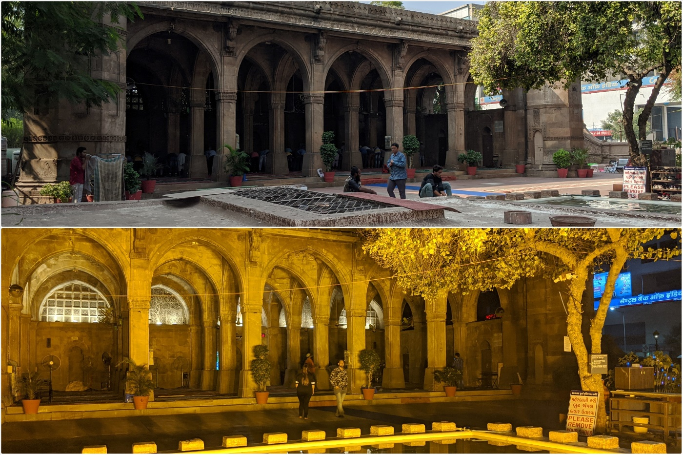 Sidi Saiyyed Mosque, Ahmedabad. (Top) Day view, (Bottom) Night view with lights ON