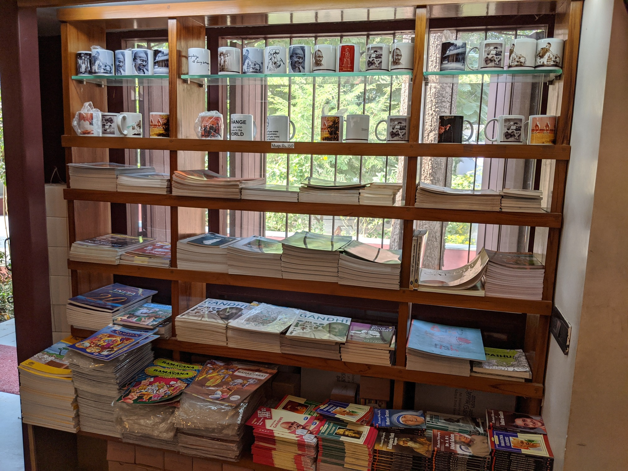 Store selling books written by Gandhi and various memorabilia about Gandhi