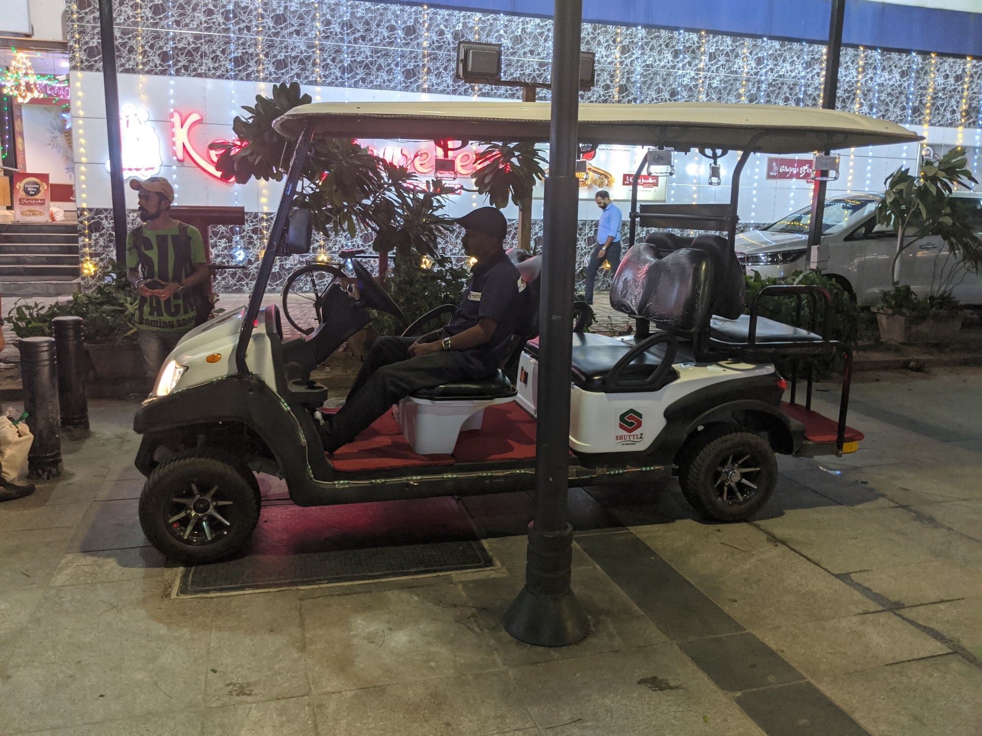 About five of these electric golf carts are said to be available for free to take Senior Citizens around