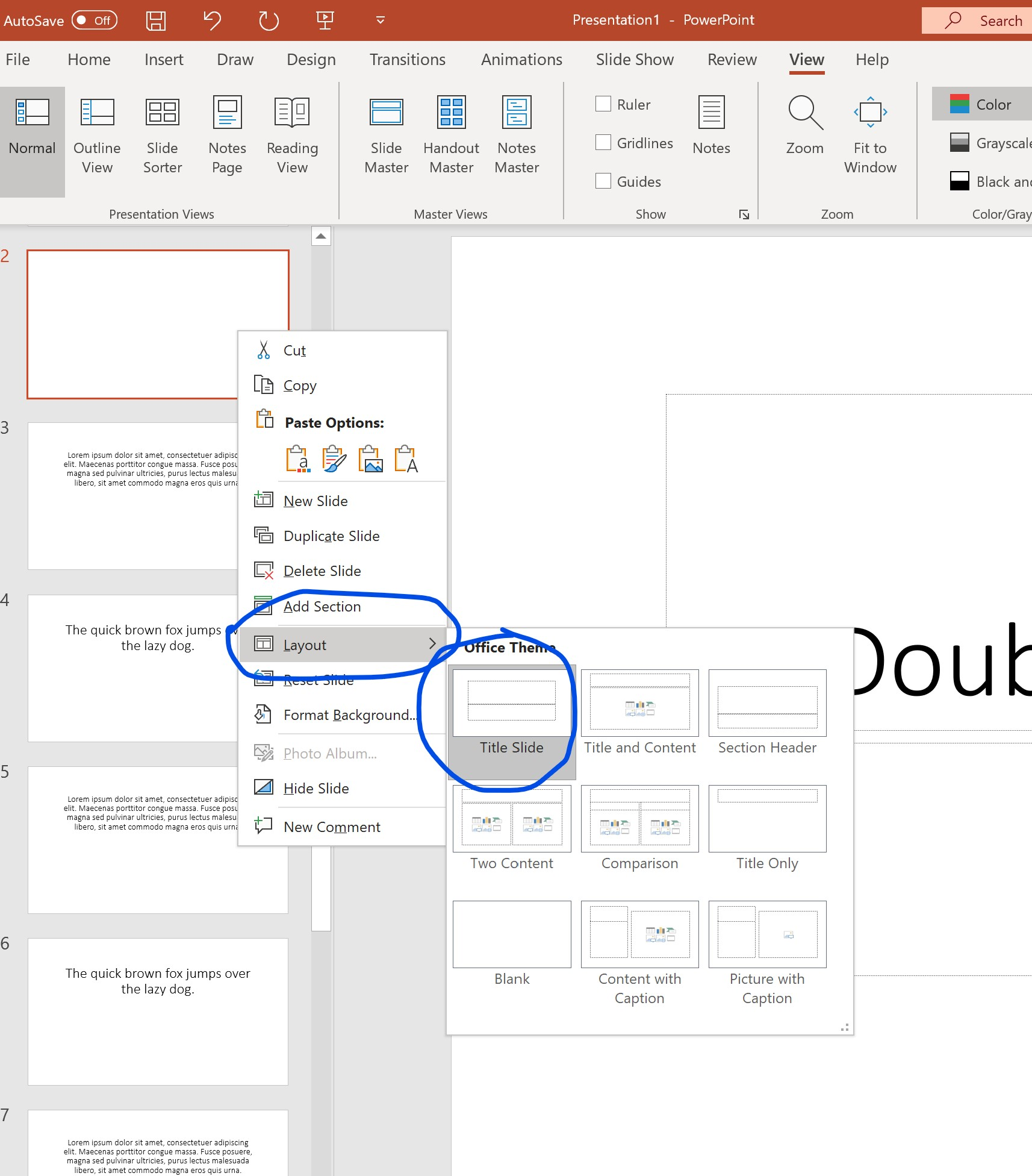 1. Microsoft PowerPoint - Create a new slide, select layout->Title Slide. Enter the title of the chapter you want. Keep repeating for every chapter.
