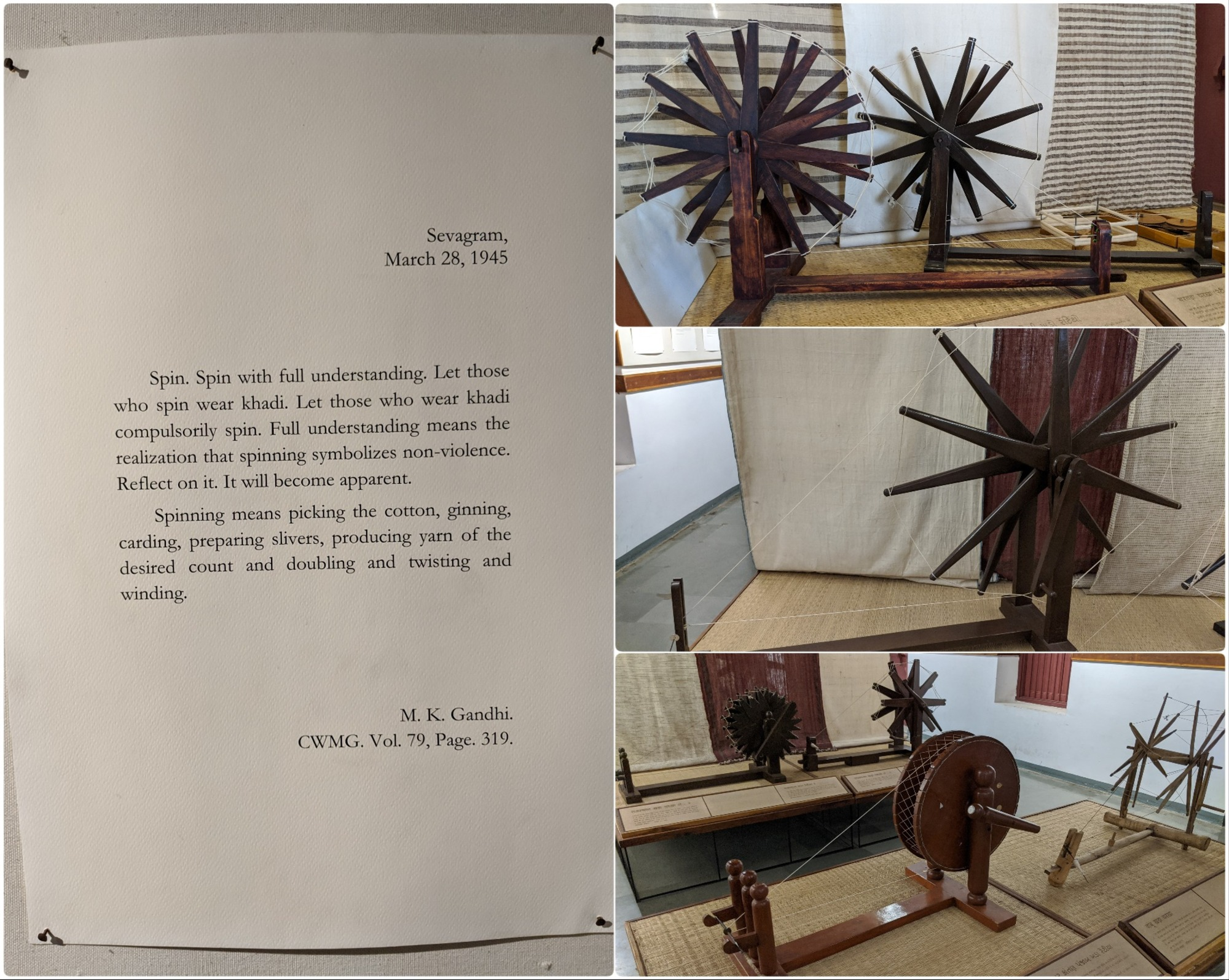 Dated 28 March 1945 Gandhi's letter on the importance of spinning and models of various spinning wheels