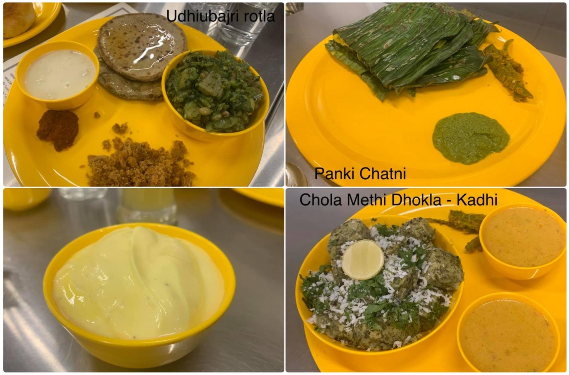 Udhiubajri rotla, Panki Chatni, Shrikhand & Chola Methi Dhokla with Kadi