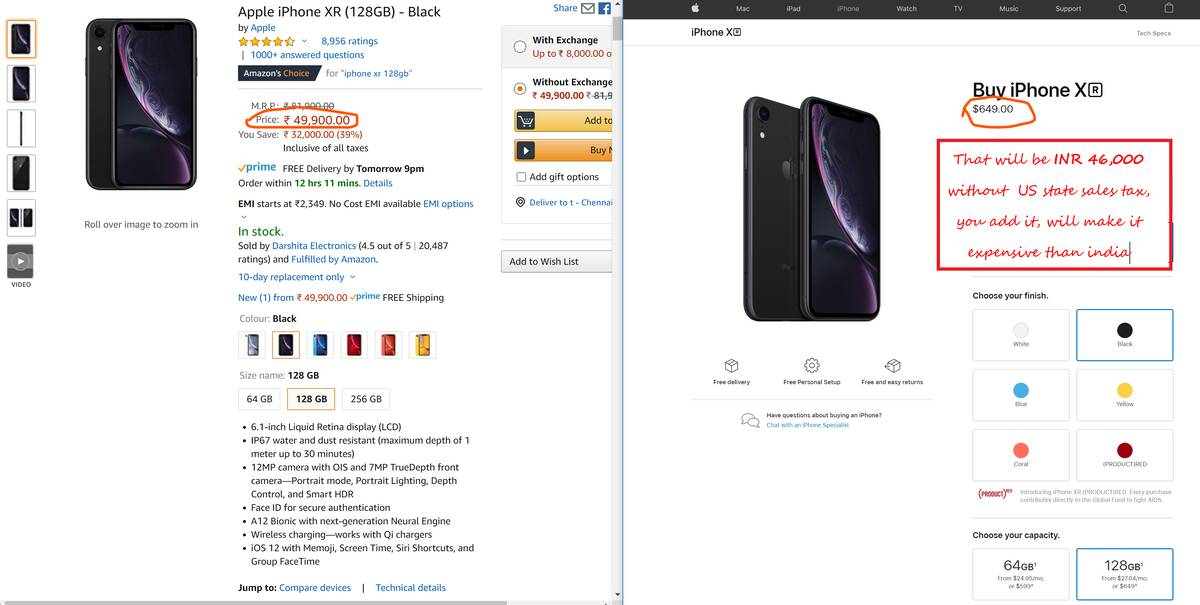 Apple iPhone XR Phone prices in India vs USA