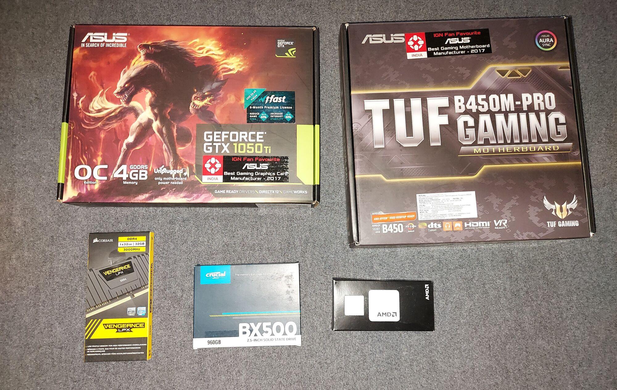AMD Ryzen 7 3800X, ASUS TUF B450M-Pro Gaming Motherboard & ASUS Geforce GTX 1050Ti