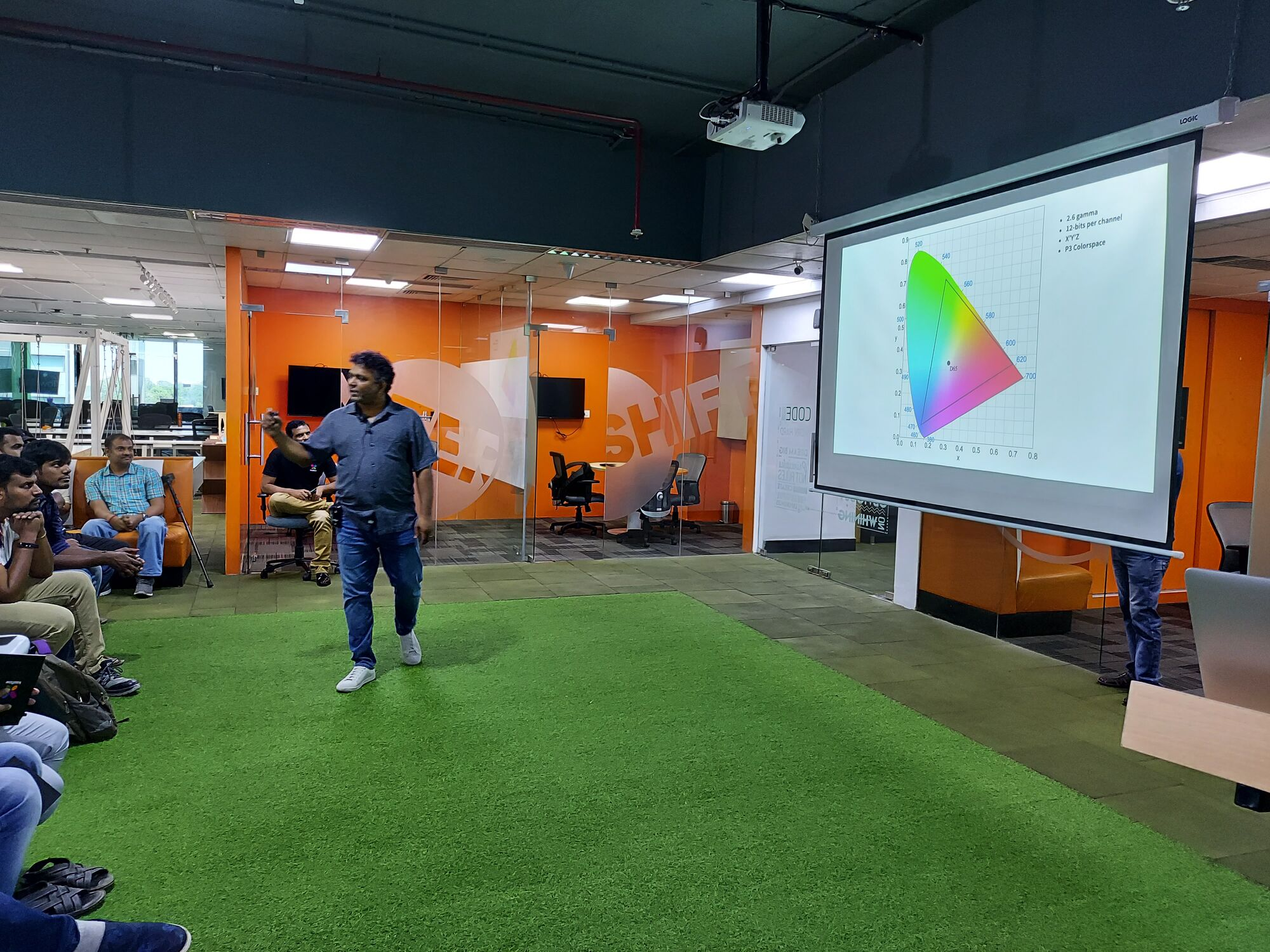 Rajesh of Qube explaining the Color triangle