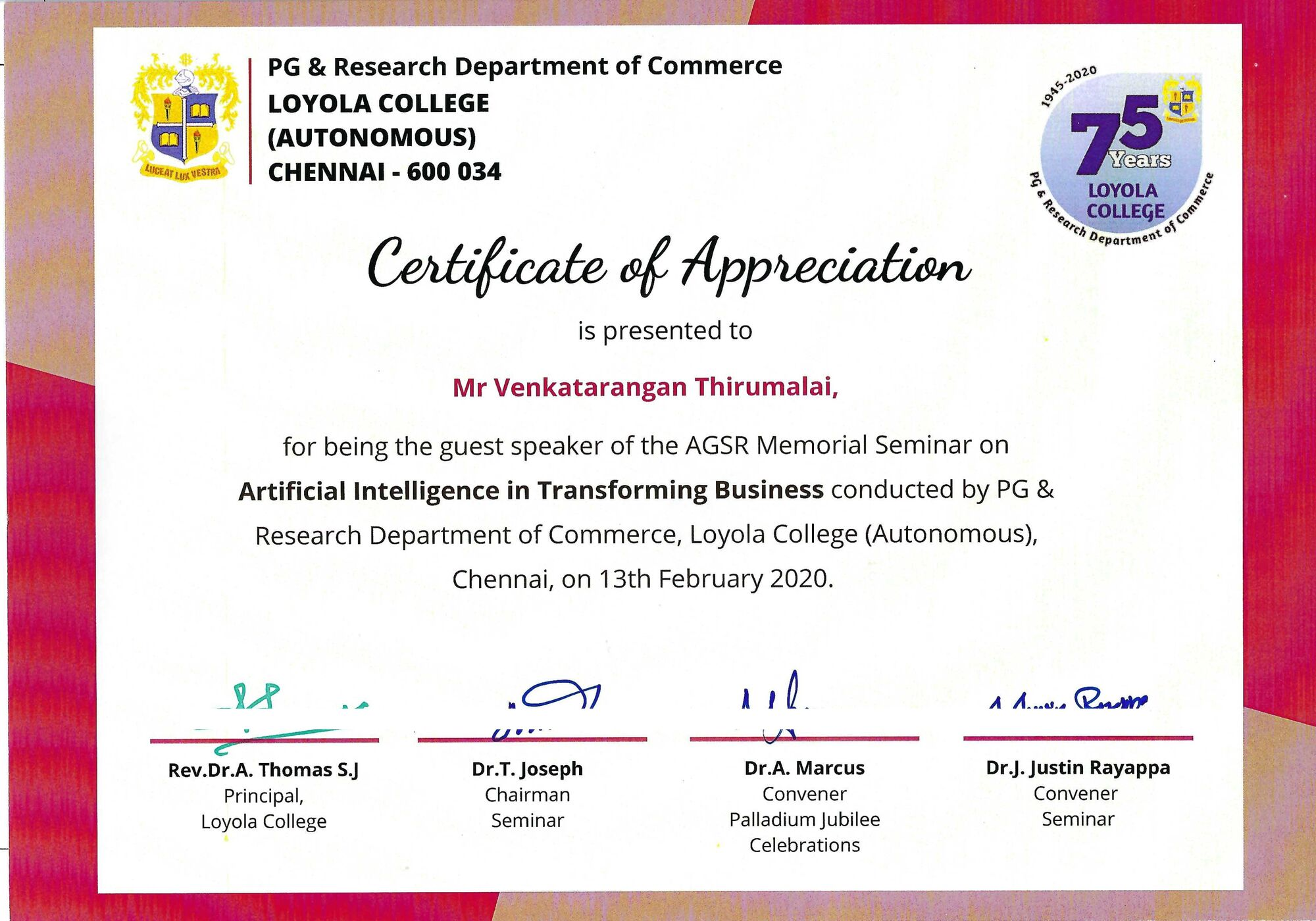 I didn't expect this, but I was gifted this Certificate of Appreciation by Loyola College