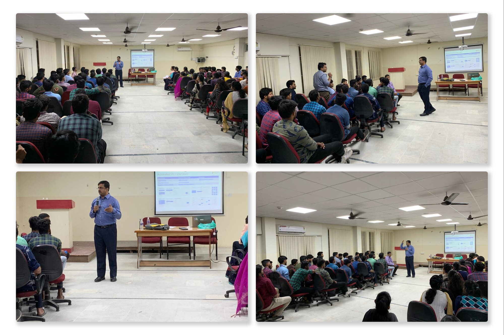 "Venkatarangan delivering a talk on ""Career Options in AI"" to the Computer Science Students"