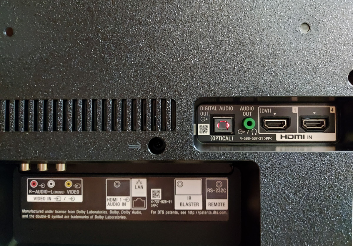 Ports on the backside of Sony KD-43X8000G - HDMI, DVI, RCA Audio, Digital Optical Audio, LAN Port and IR Blaster