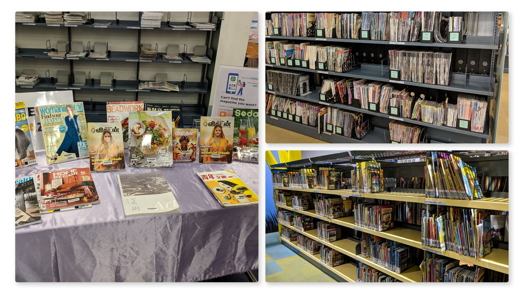 Magazines on display, Tamil magazines and Tamil books for Kids