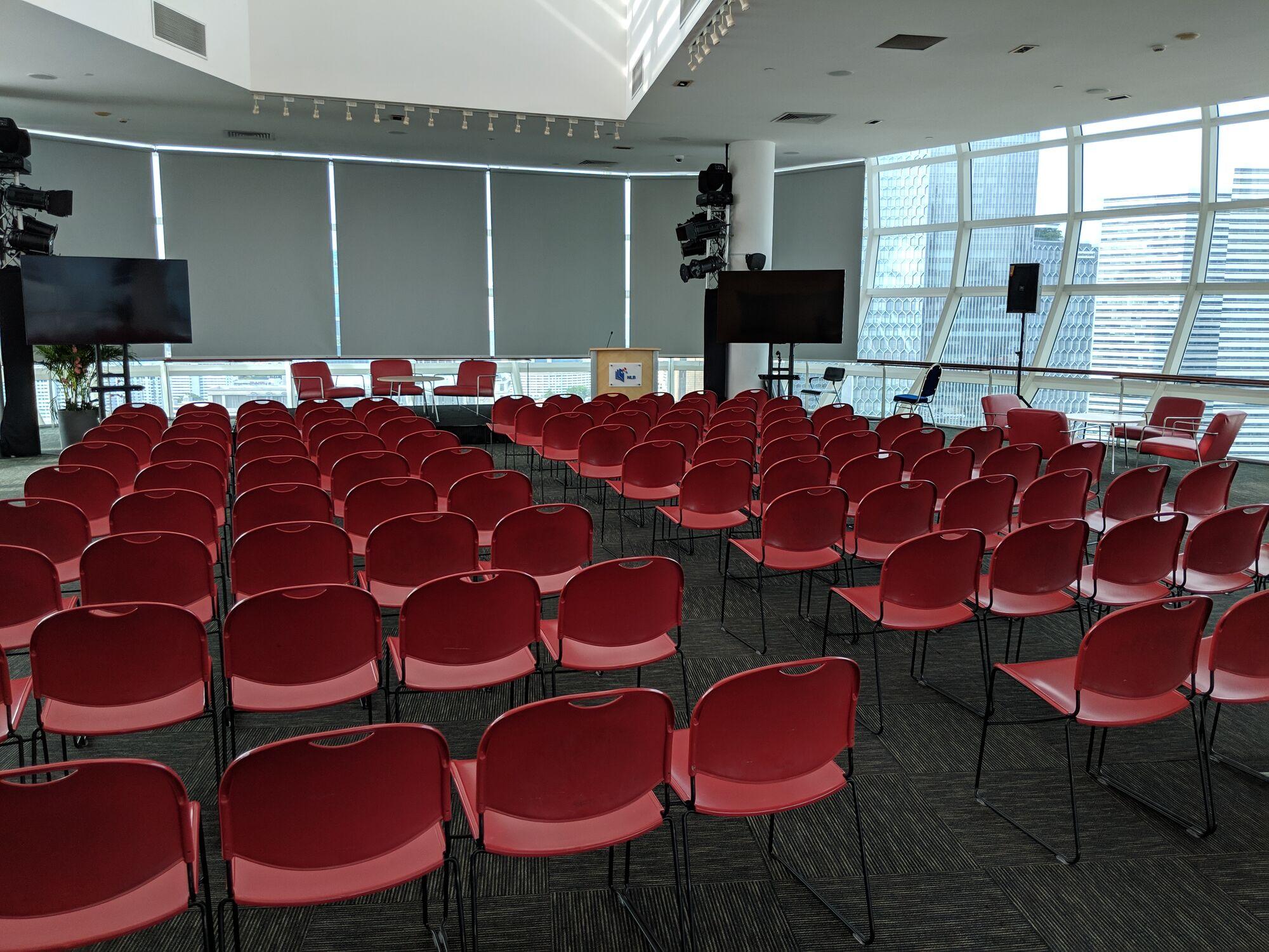 The top floor has a meeting room