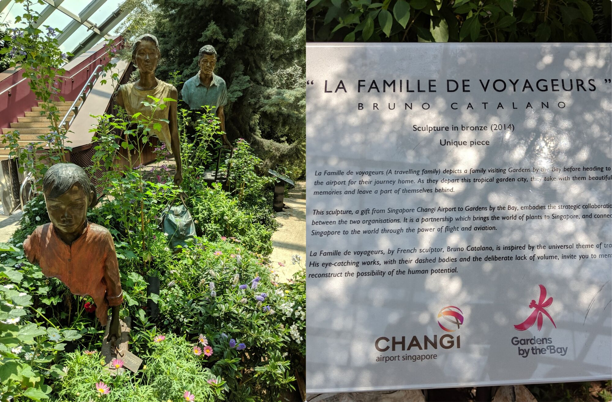 A travelling family (La Famille De Voyageurs) display. The sculpture a gift from Changi Airport depicts a family before heading to the airport.