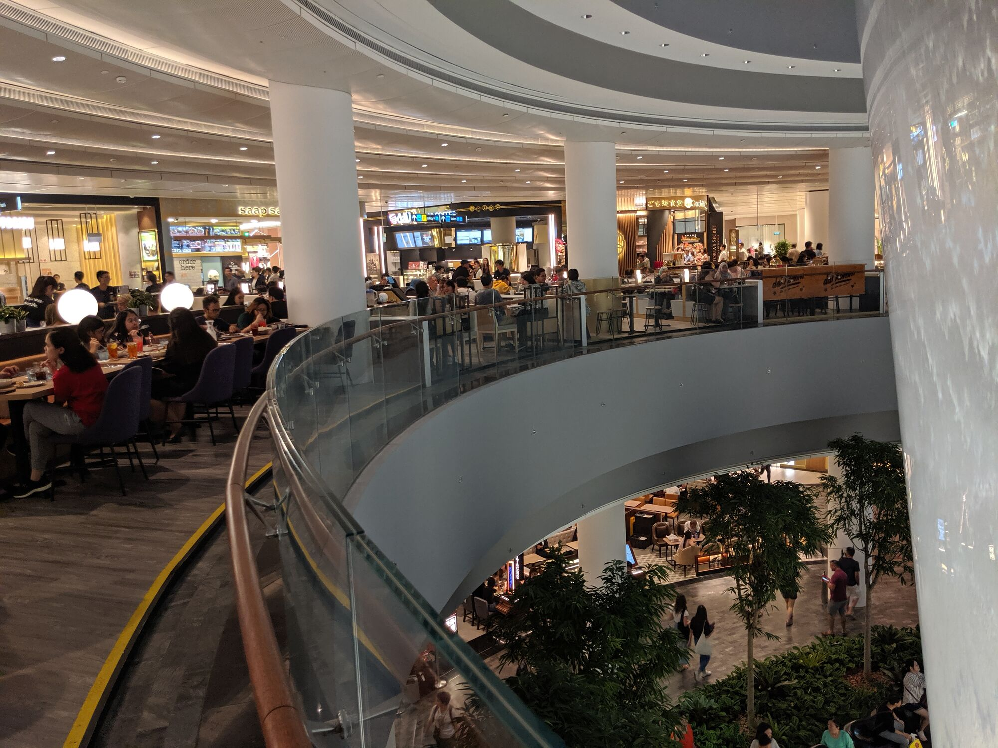 There are eateries in the level below the ground