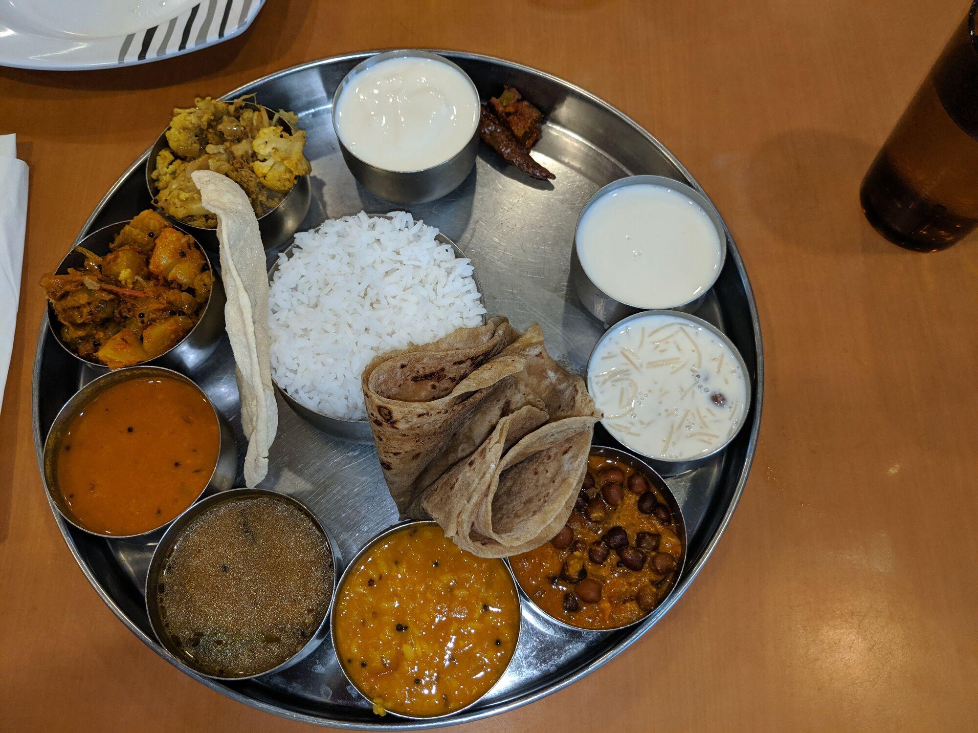 Raj Restaurant - South Indian Thali (SGD 9.40) - Rice, Rasam, Sambar, Poriyal, Roti, Black Chennai Curry, Daal Curry, Gobi Dry, Aloo Masala, Semiya Payasam & Curd