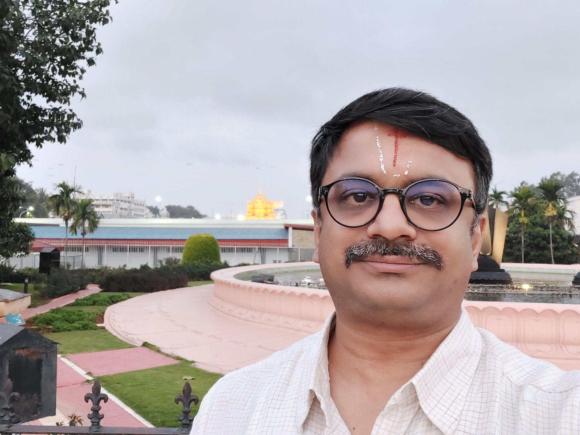 Venkatarangan in front of the Tirumala Tirupati Musical Fountain