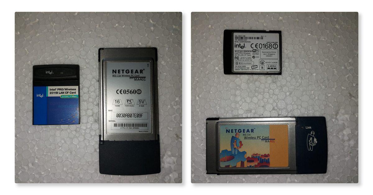 Netgear 802.11b wireless PC Card MA-401, Intel Pro/Wireless 011B LAN CF card - PCMCIA and CF Card