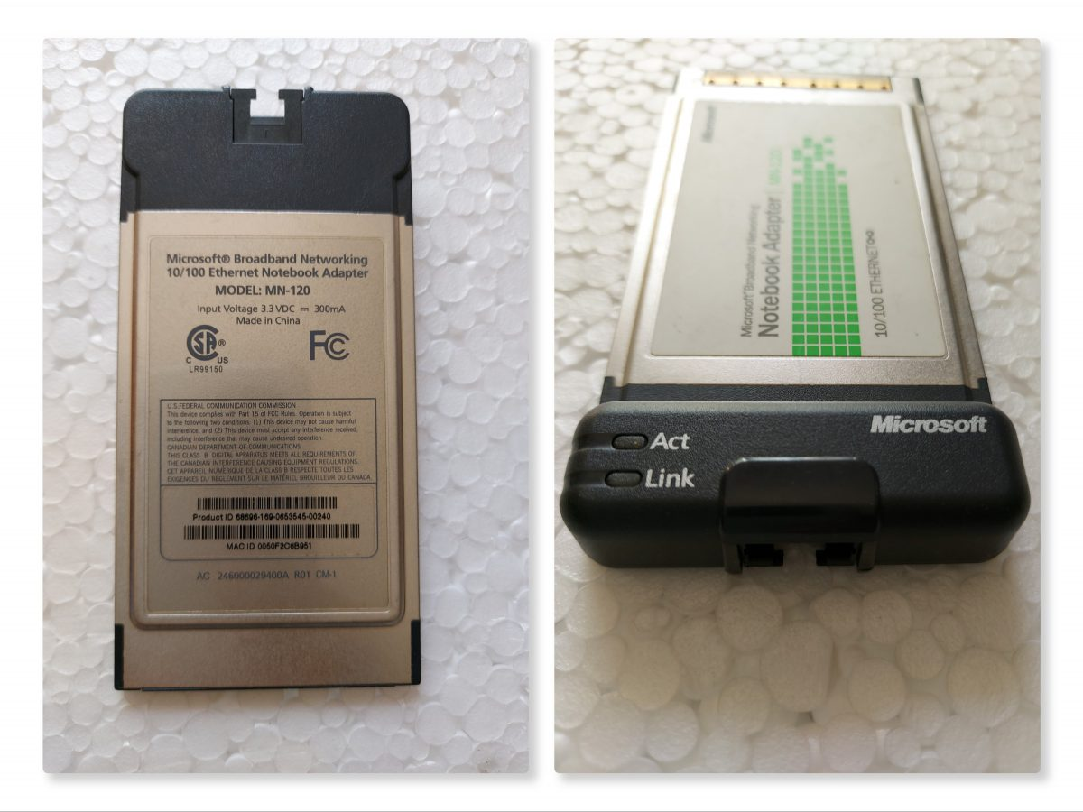Microsoft Broadband Networking 10/100 Ethernet Notebook Adapter MN-120 - PCMCIA Card