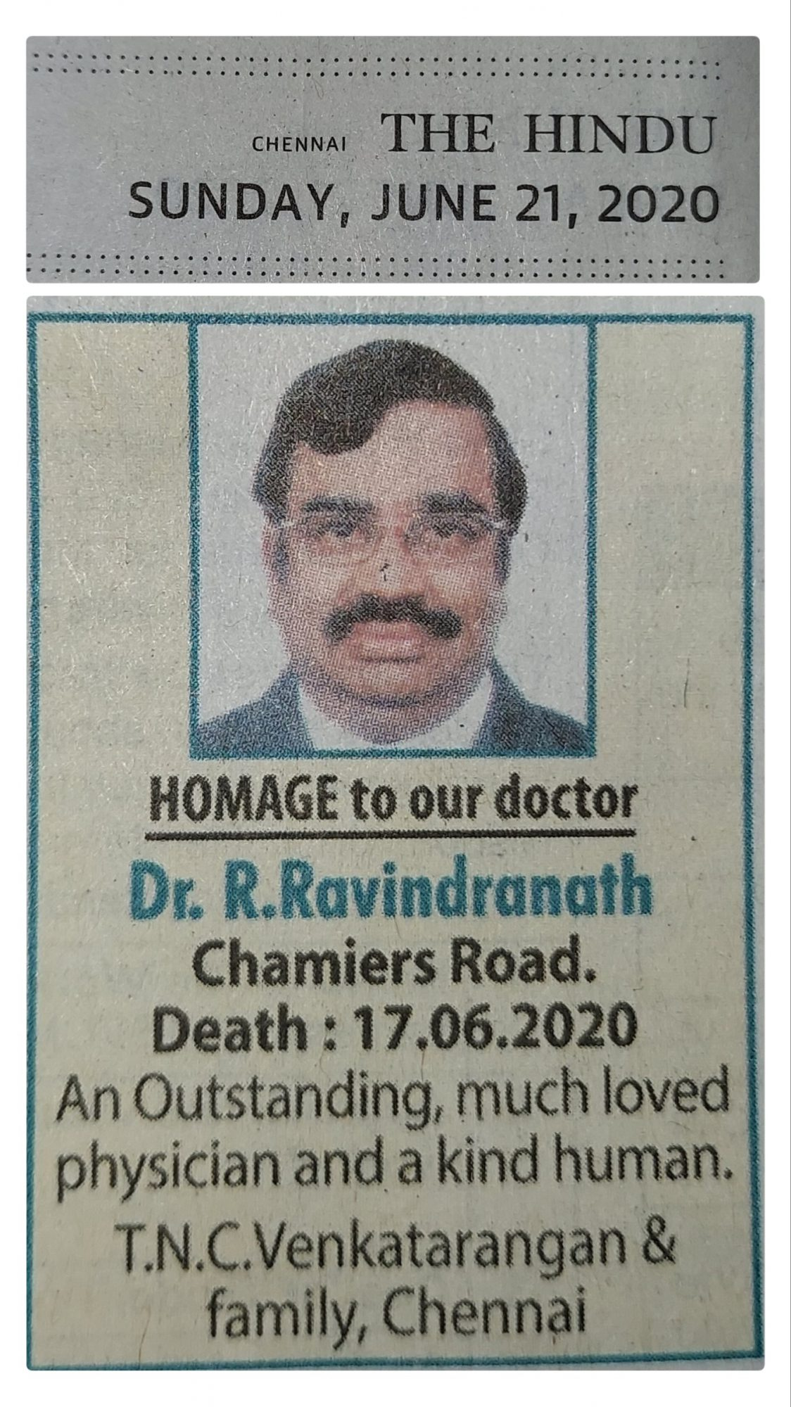Homage to our doctor - Appeared on The Hindu Newspaper on 21st June 2020.