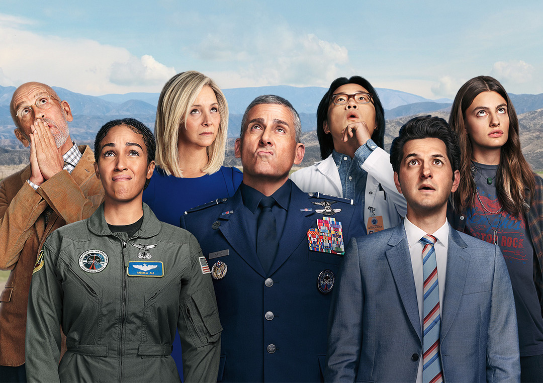 Space Force (TV series) - John Malkovich, Tawny Newsome, Lisa Kudrow, Steve Carell, Jimmy O. Yang, Ben Schwartz & Diana Silvers.