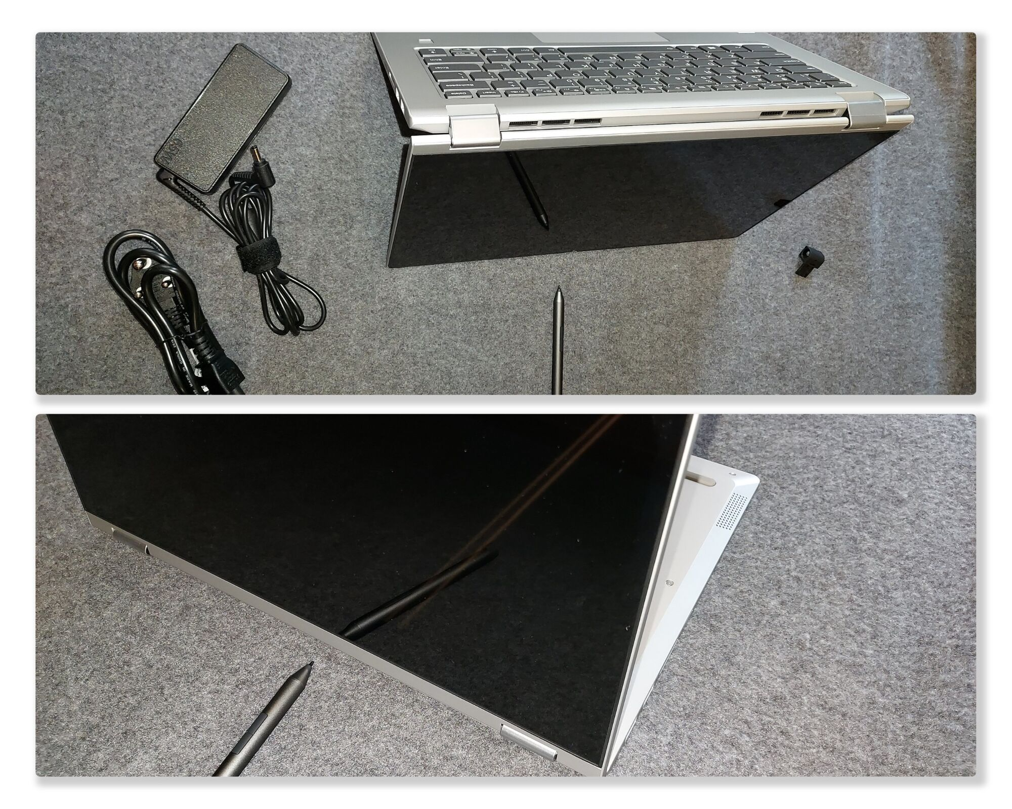 For using the touch surface to write, you can use the laptop in the (top) tent mode or (bottom) in the stand mode.